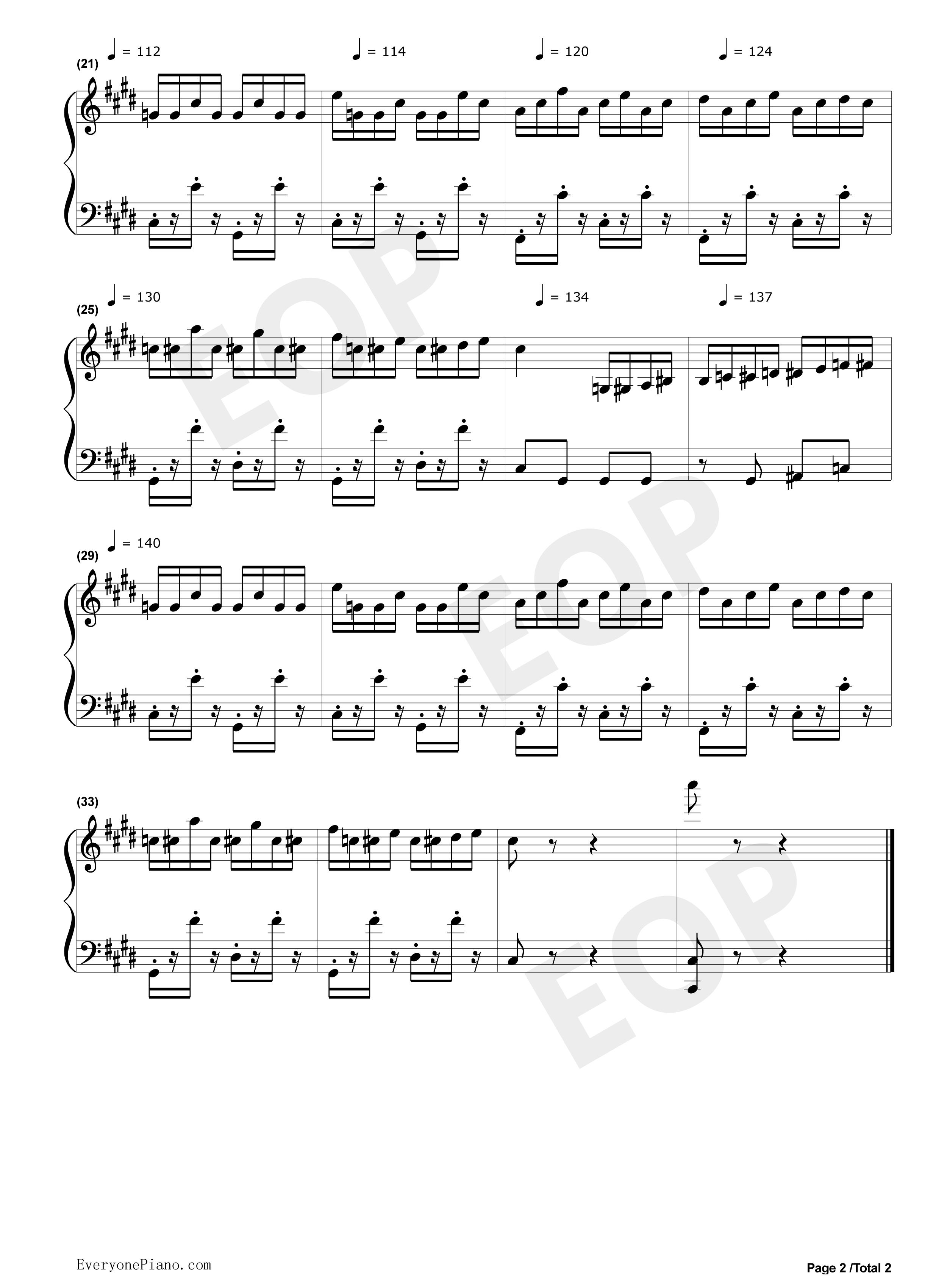 钢琴曲谱 流行 斗琴二-不能说的秘密 斗琴二-不能说的秘密五线谱预览2