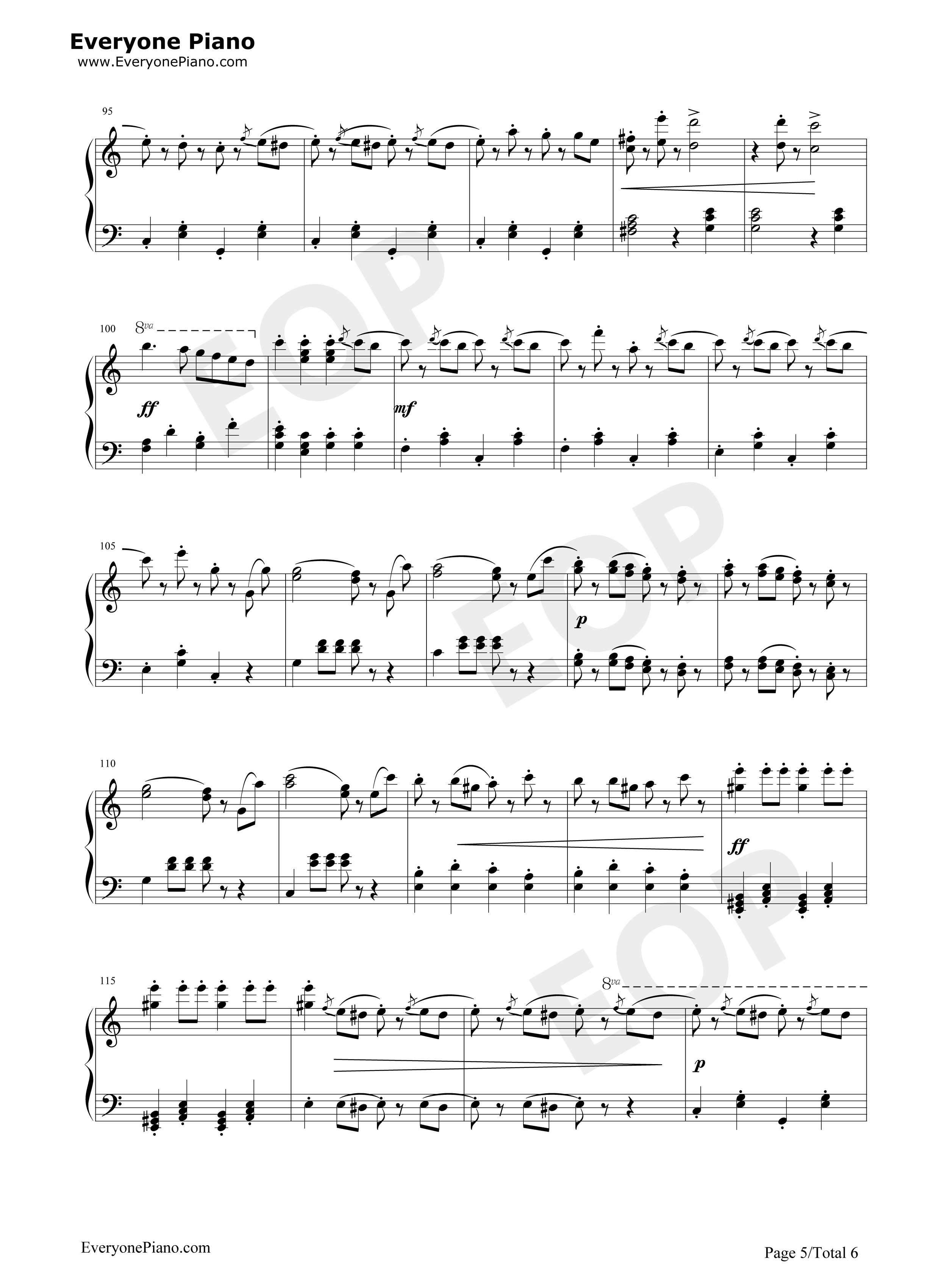 拉德斯基进行曲-新年音乐会钢琴独奏版五线谱预览5