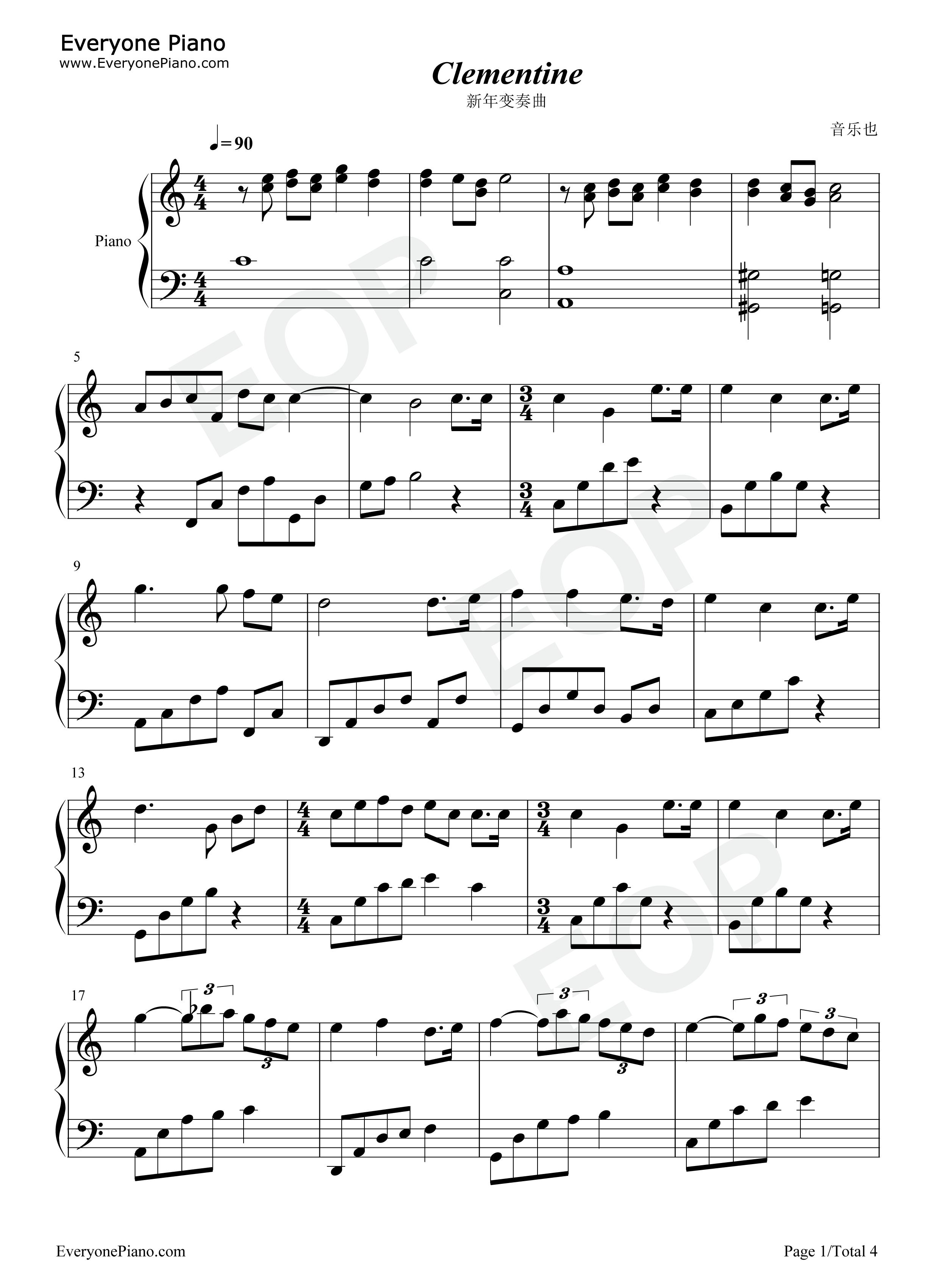 新年变奏曲-新年歌曲五线谱预览1