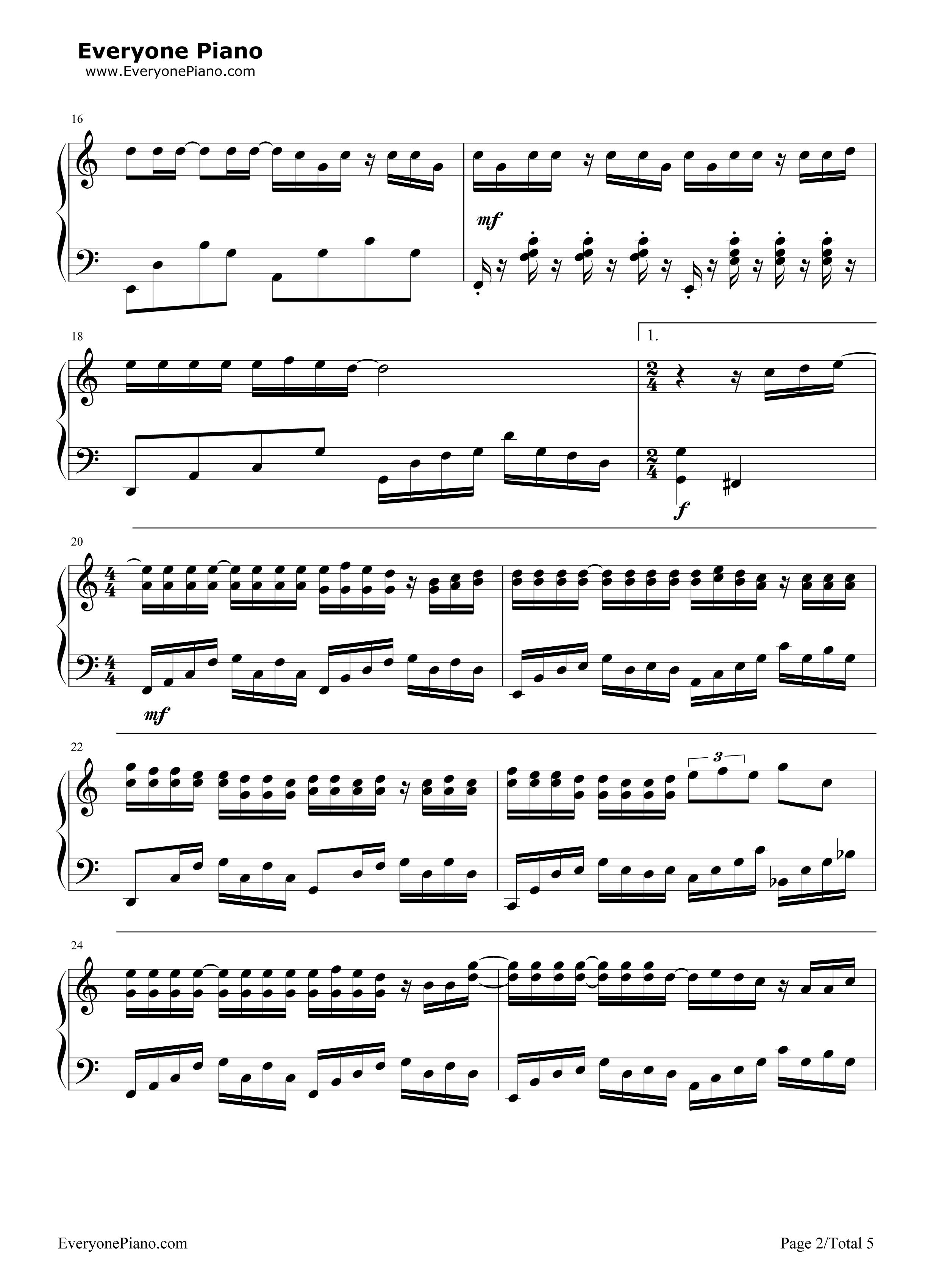 钢琴曲谱 流行 说好的幸福呢 说好的幸福呢五线谱预览2  }  仅供学习