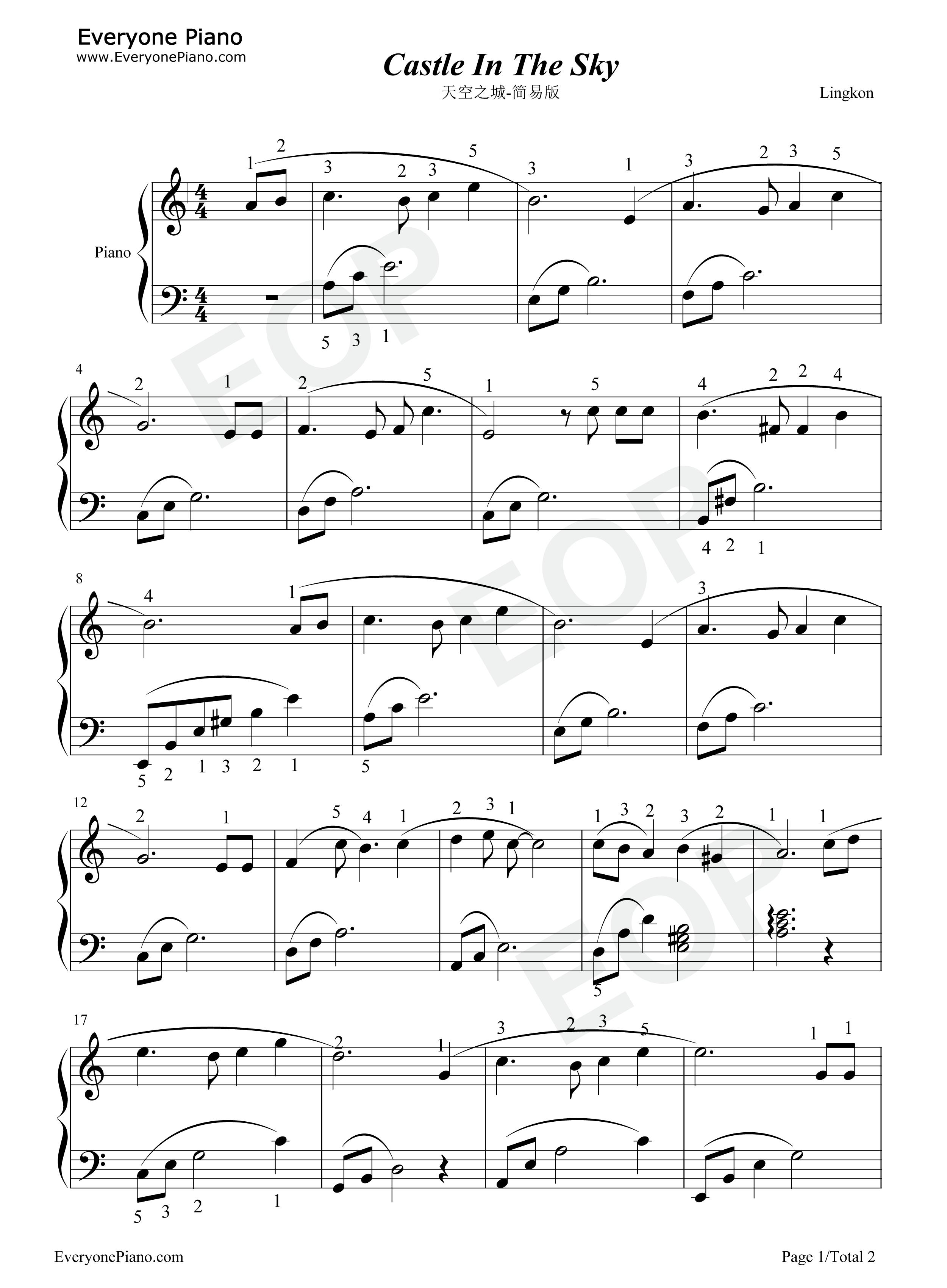 天空 之 城 鋼琴 譜 簡單 版