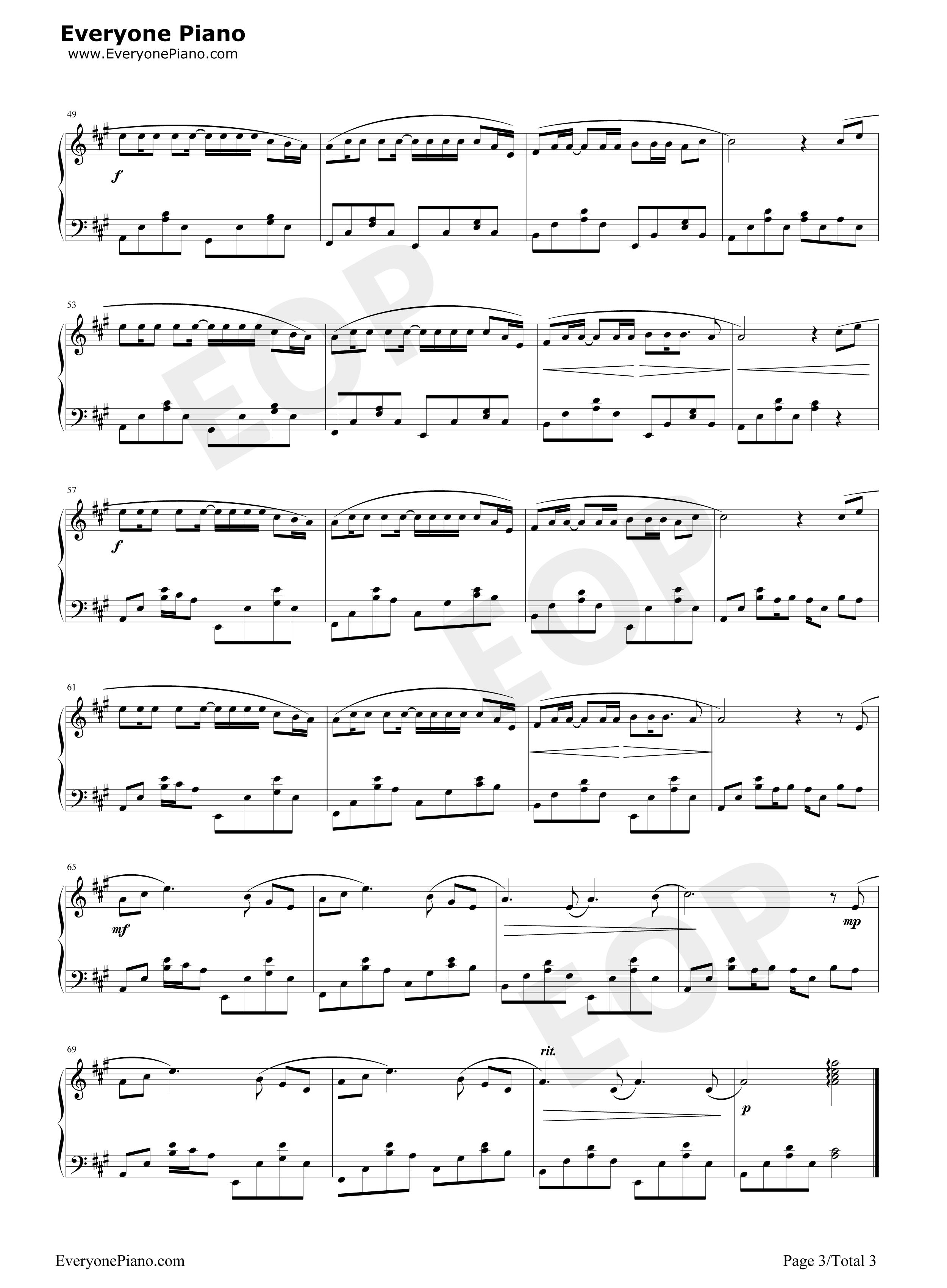 稻香钢琴演奏版-周杰伦-魔杰座五线谱预览图片