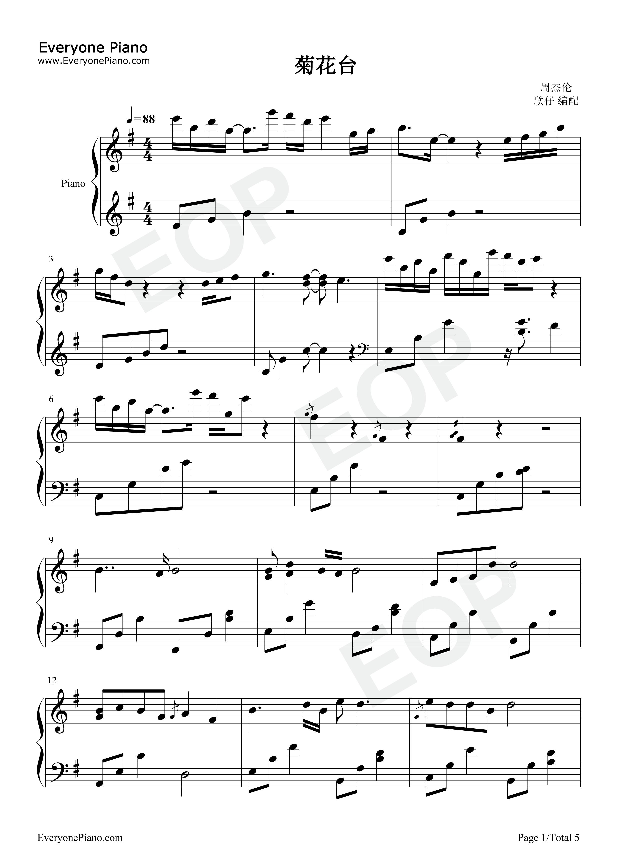 周杰伦小提琴谱五线谱