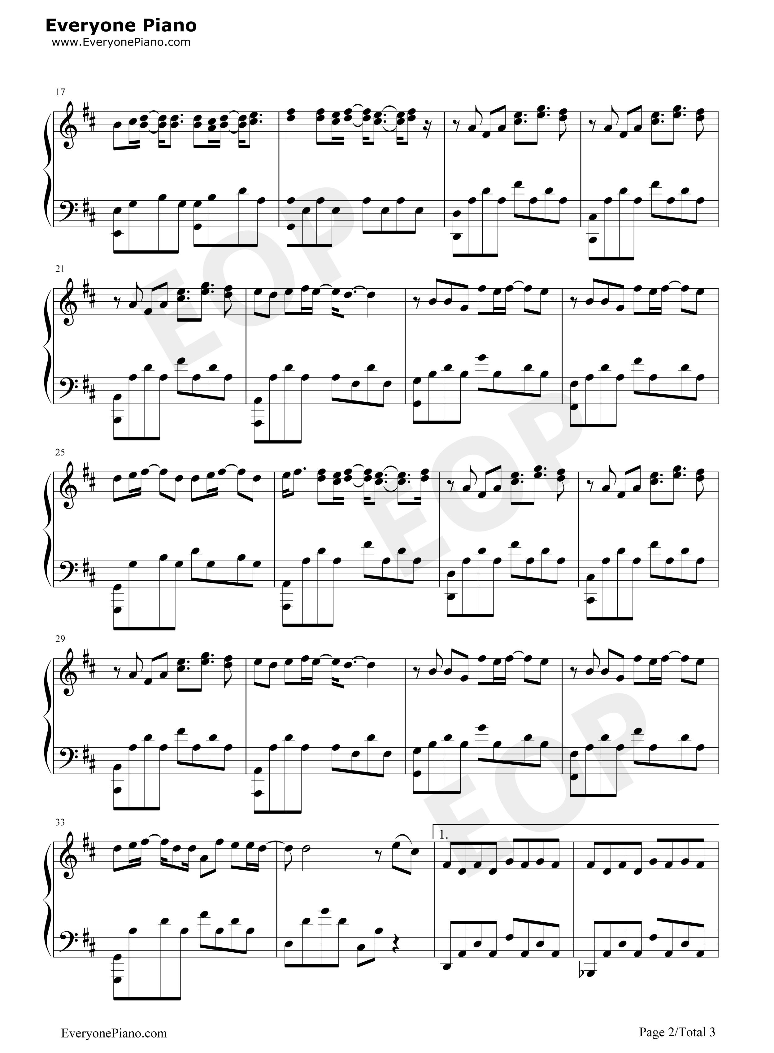 借口-周杰伦五线谱预览2-钢琴谱(五线谱,双手简谱)