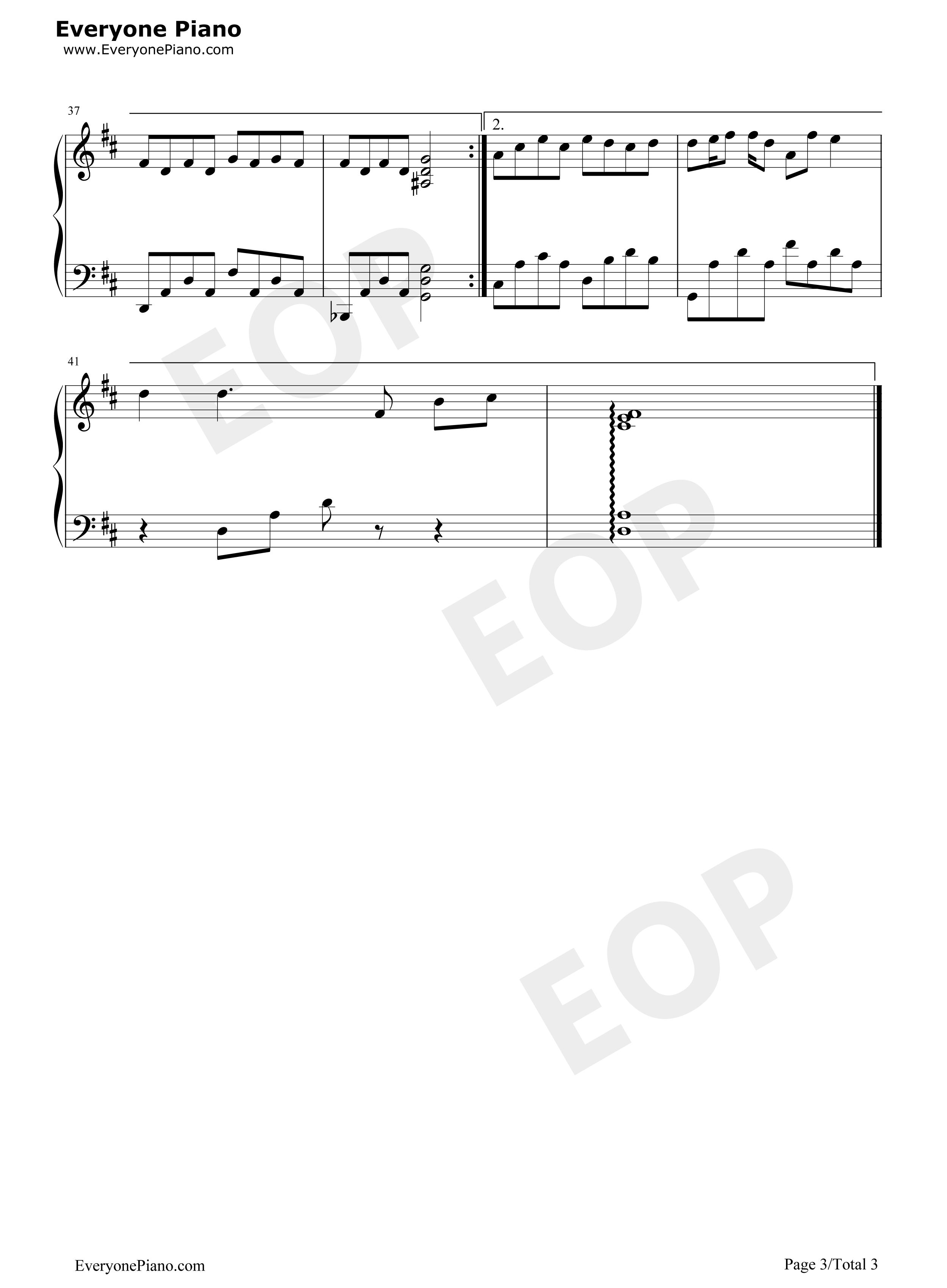 借口-周杰伦五线谱预览3-钢琴谱(五线谱,双手简谱)