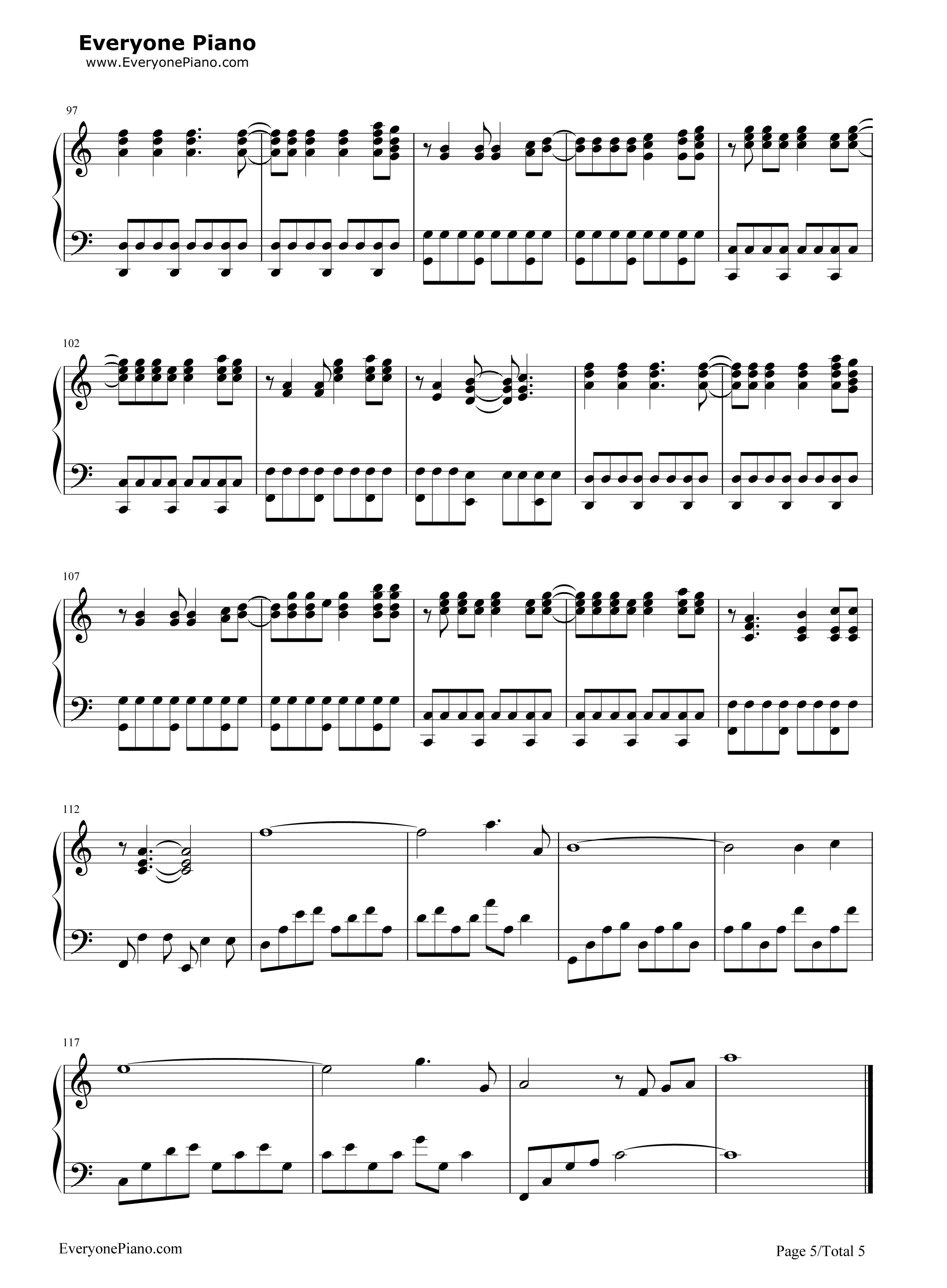 bigbang五线谱预览5-钢琴谱