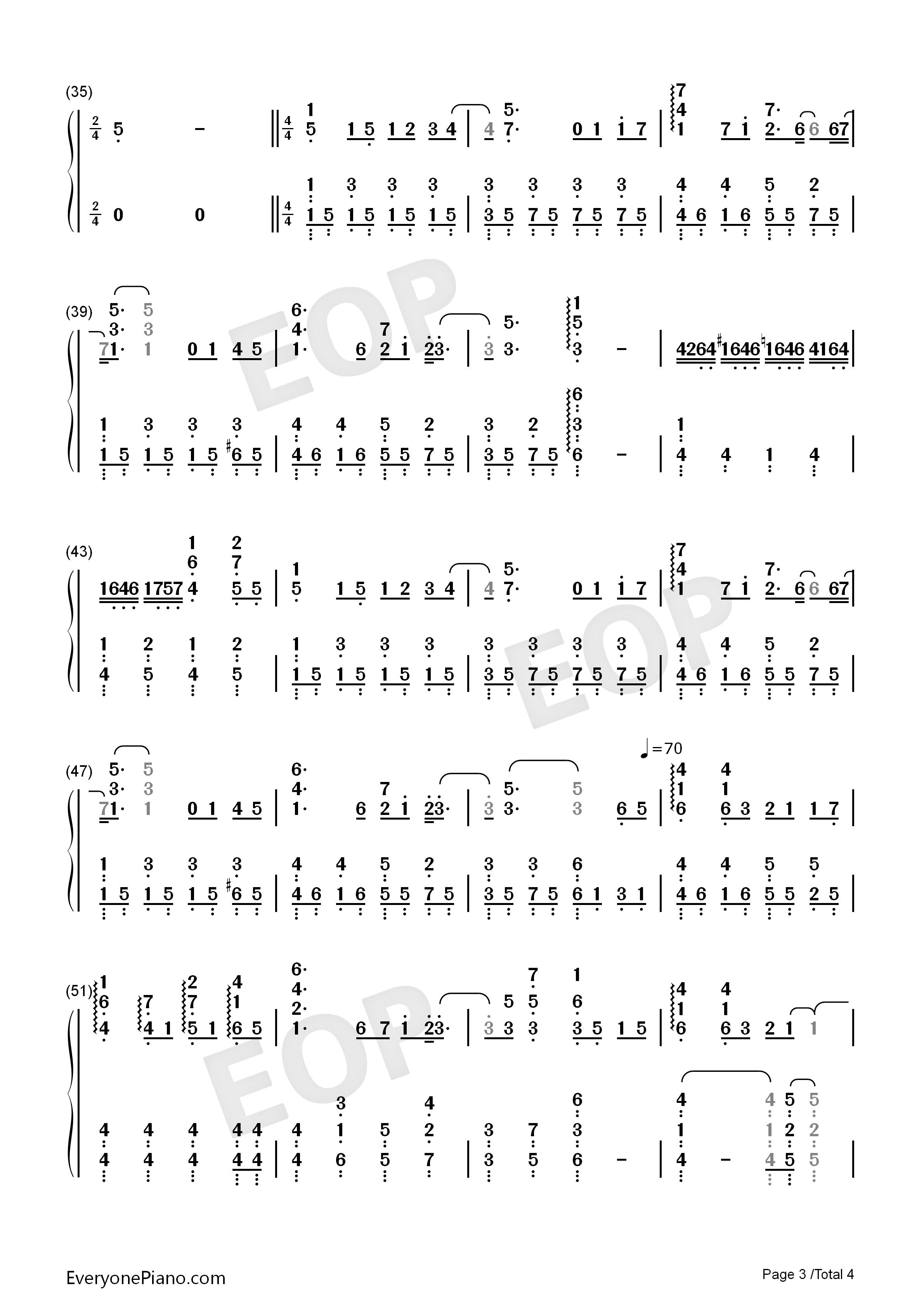 钢琴曲谱 流行 蜗牛-周杰伦 蜗牛-周杰伦双手简谱预览3  }  仅供学习图片