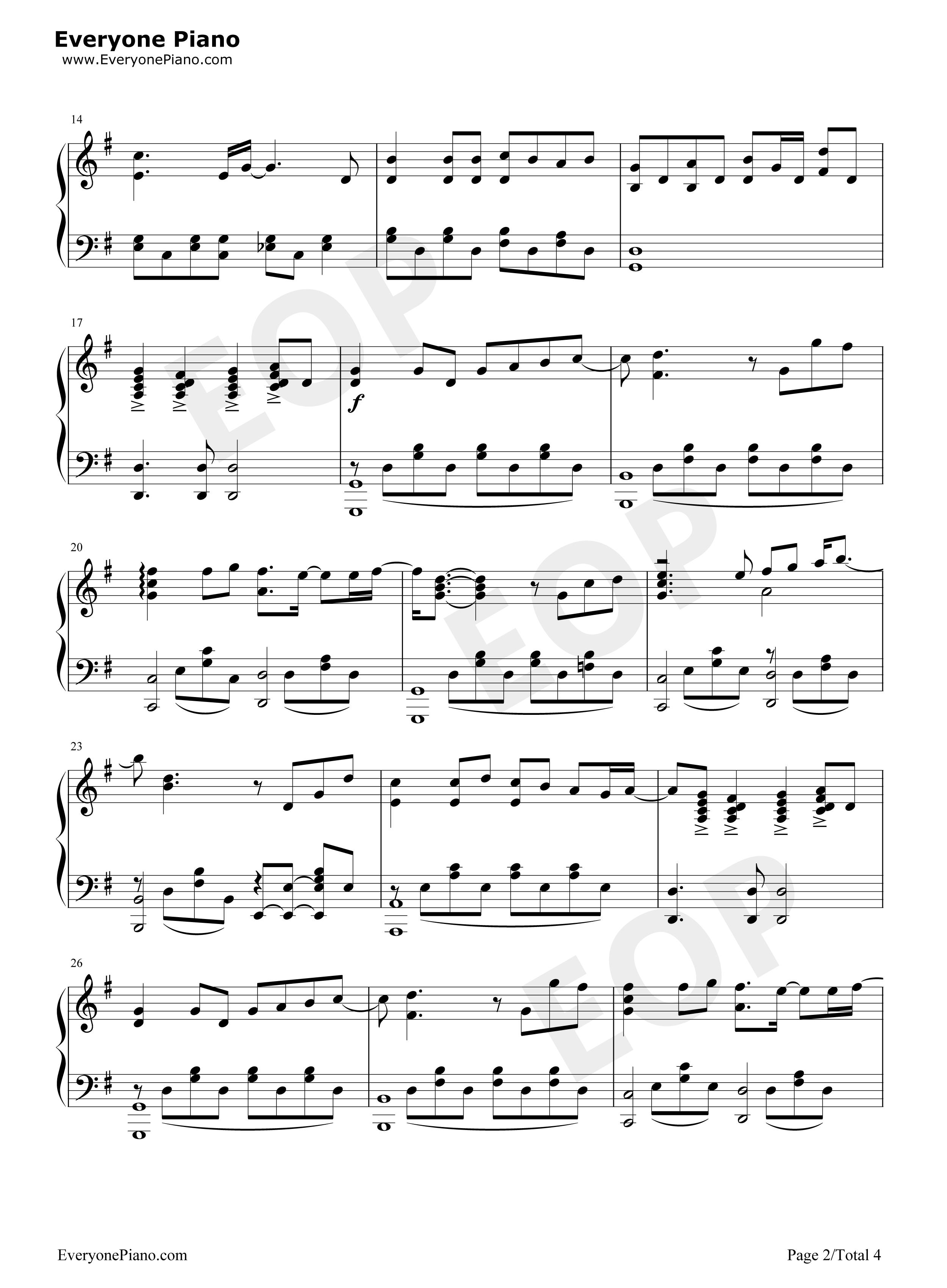 蜗牛-周杰伦五线谱预览2图片