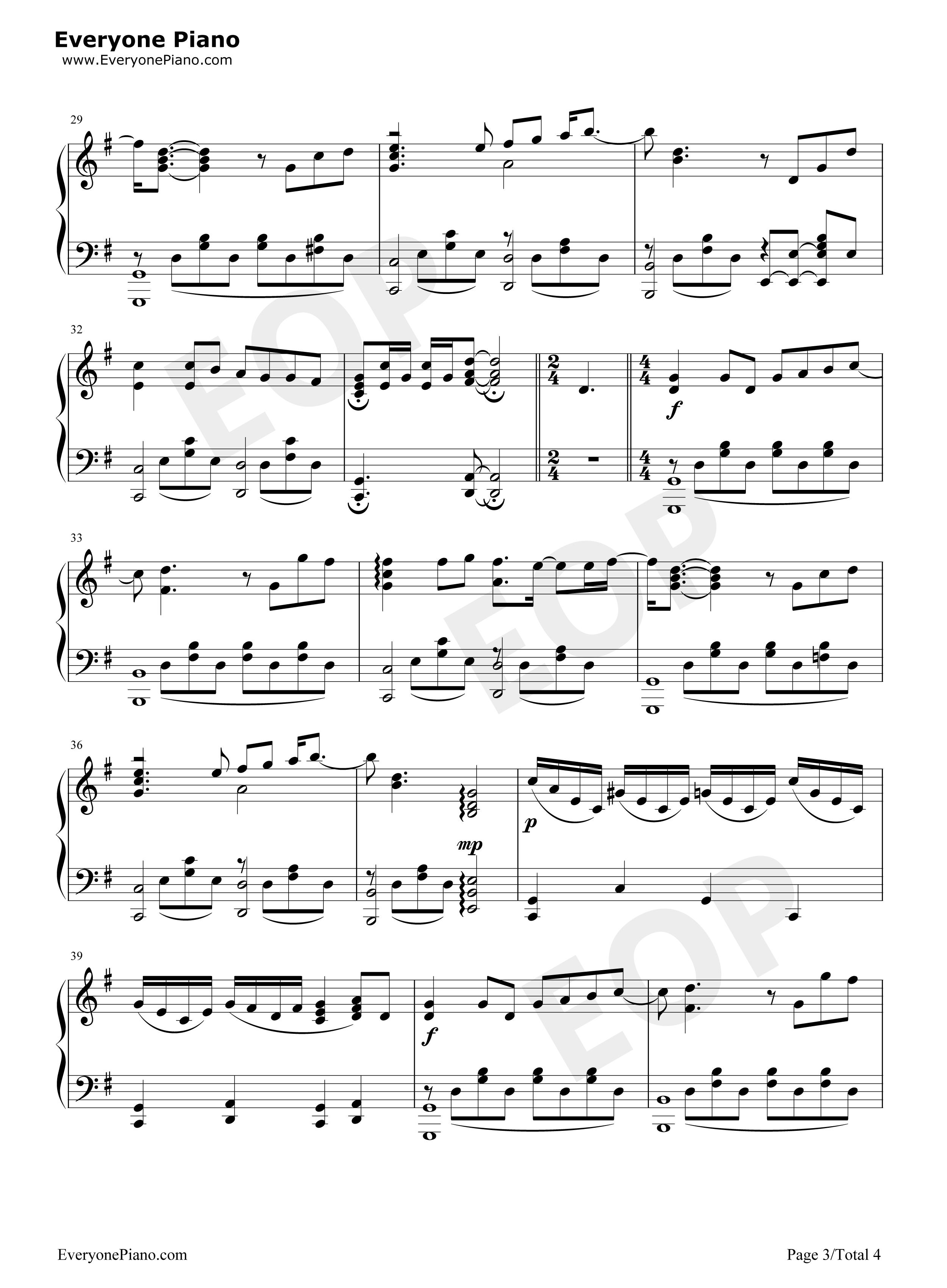 蜗牛-周杰伦五线谱预览3-钢琴谱(五线谱,双手简谱)图片