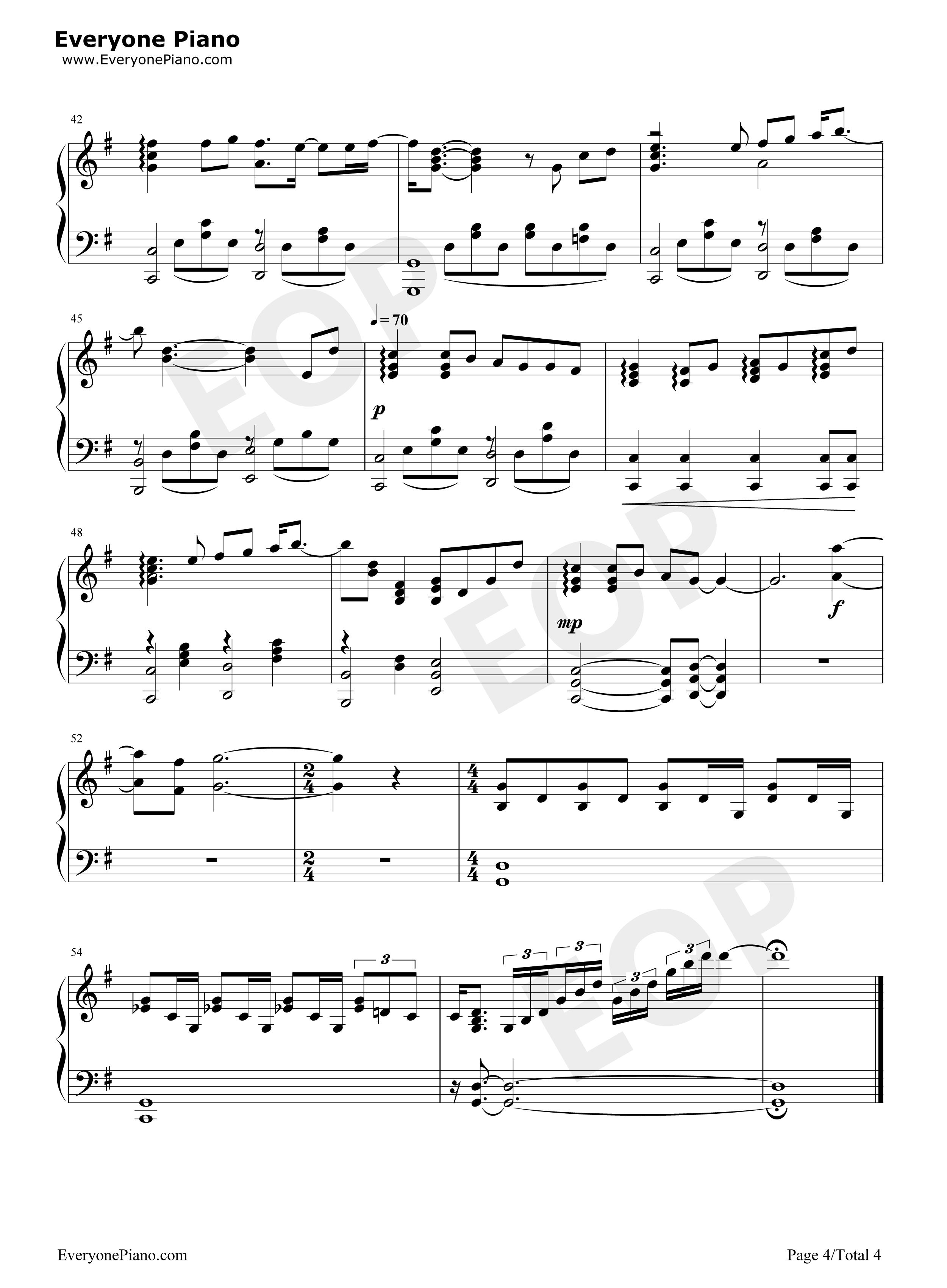 钢琴曲谱 流行 蜗牛-周杰伦 蜗牛-周杰伦五线谱预览4  }  仅供学习图片