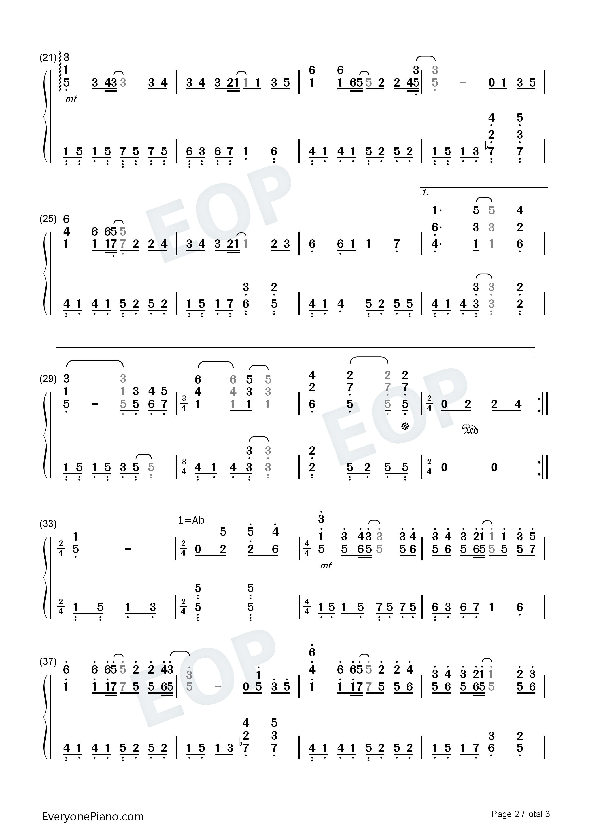钢琴曲谱 流行 童话-光良 童话-光良双手简谱预览2