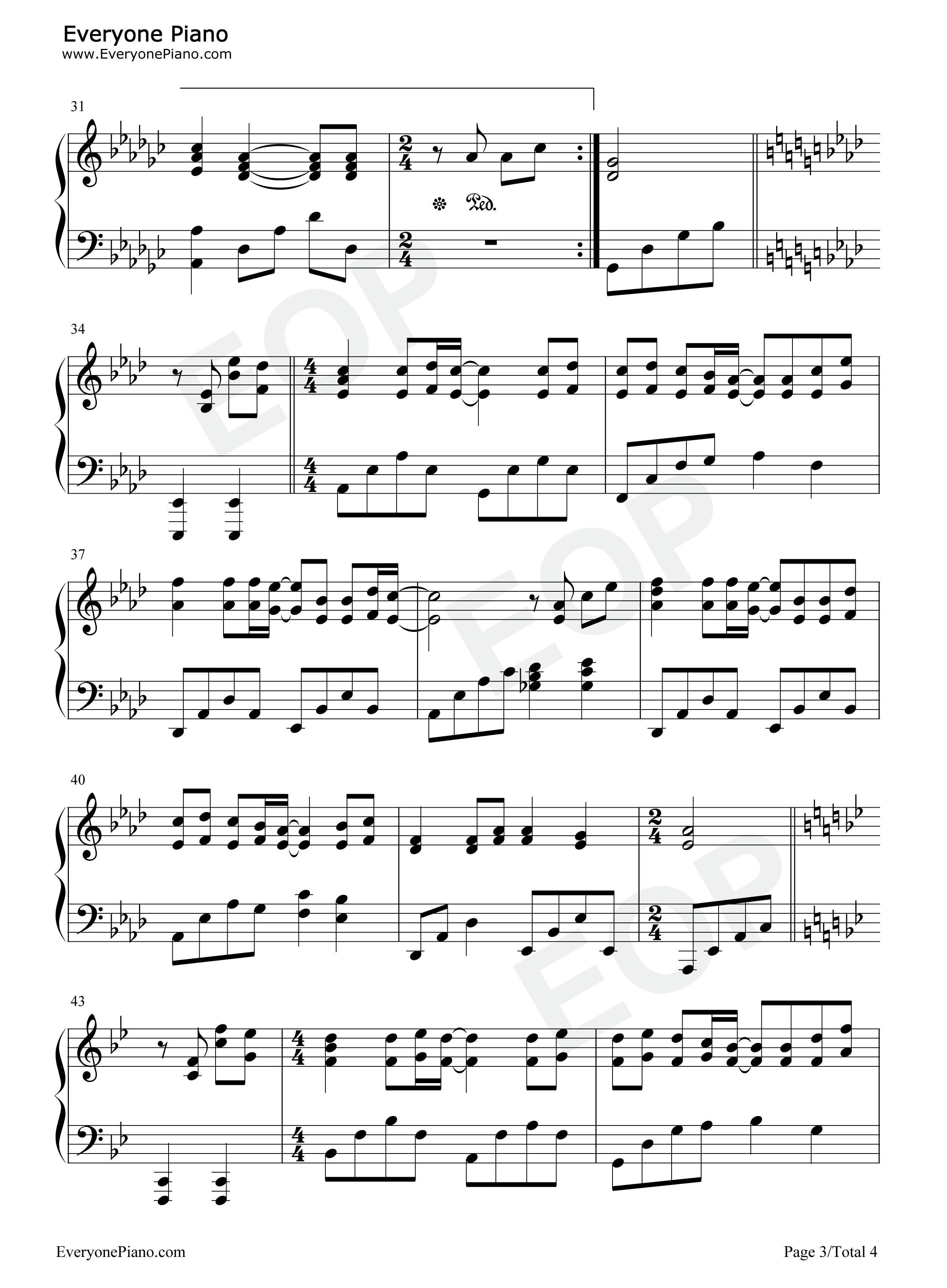 童话-光良五线谱预览3-钢琴谱档(五线谱,双手简谱,数