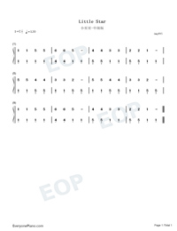 小星星中级版-eop教学曲-钢琴谱档(五线谱,双手简谱图片