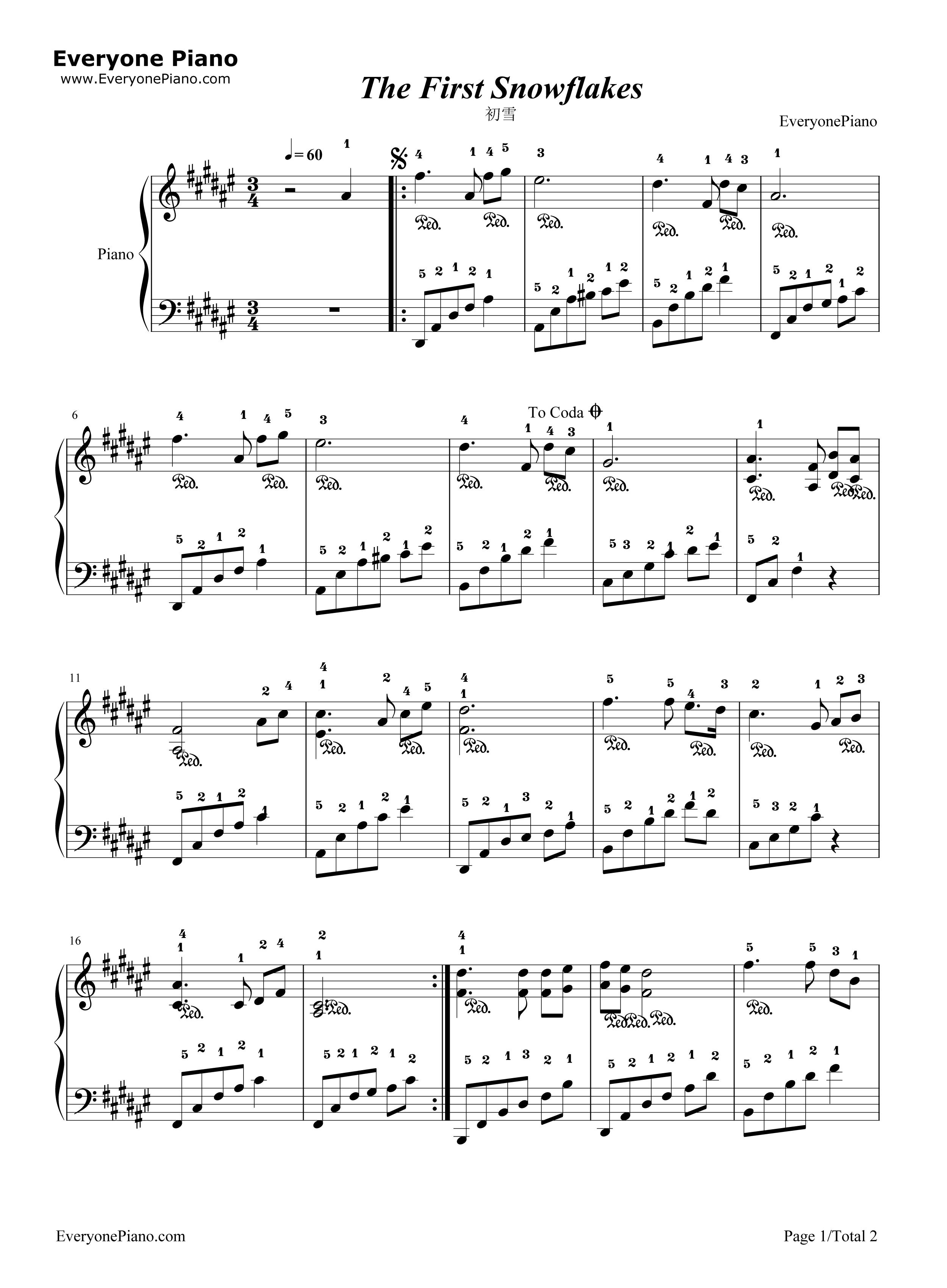 初雪简易版-c调带指法-班得瑞五线谱预览1-钢琴谱(,)图片