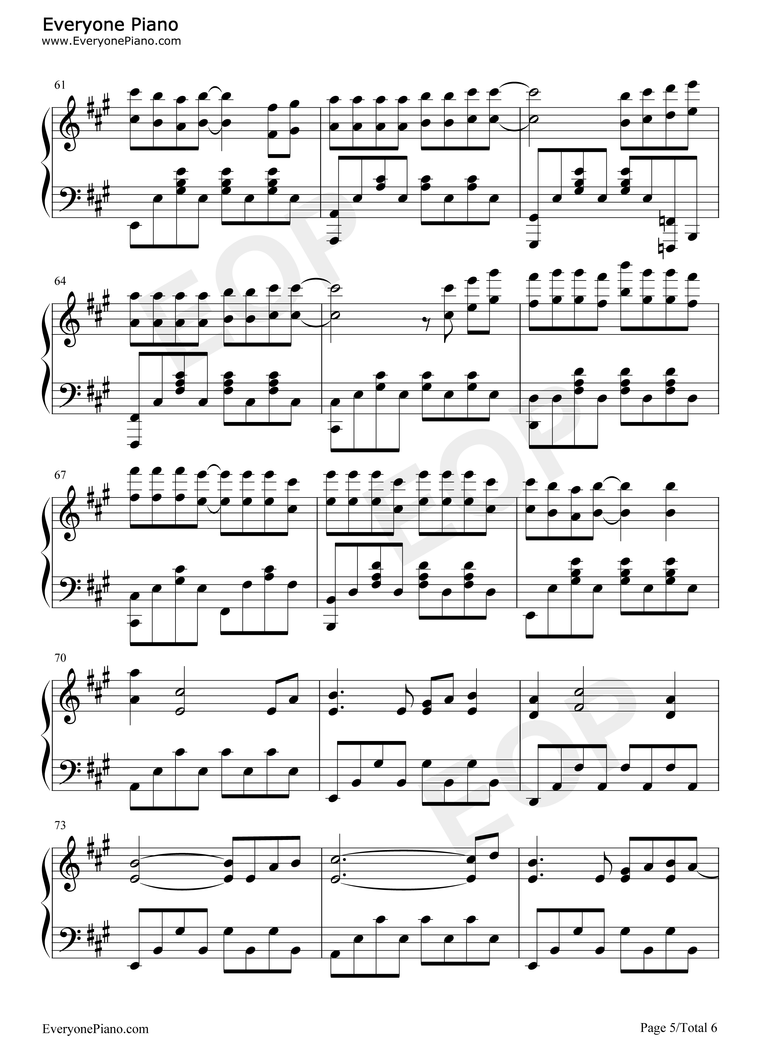 开不了口-周杰伦五线谱预览5-钢琴谱(五线谱,双手简谱