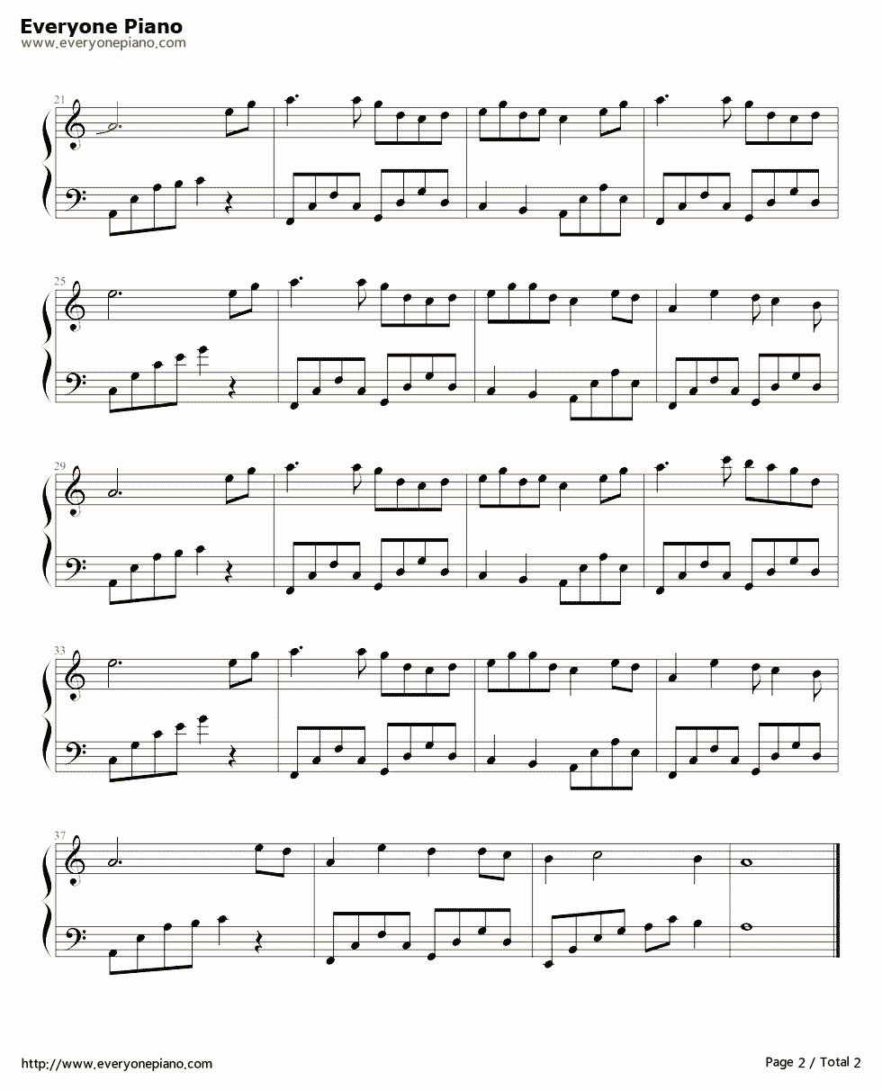 天堂 钢琴曲谱 三寸天堂 曲谱