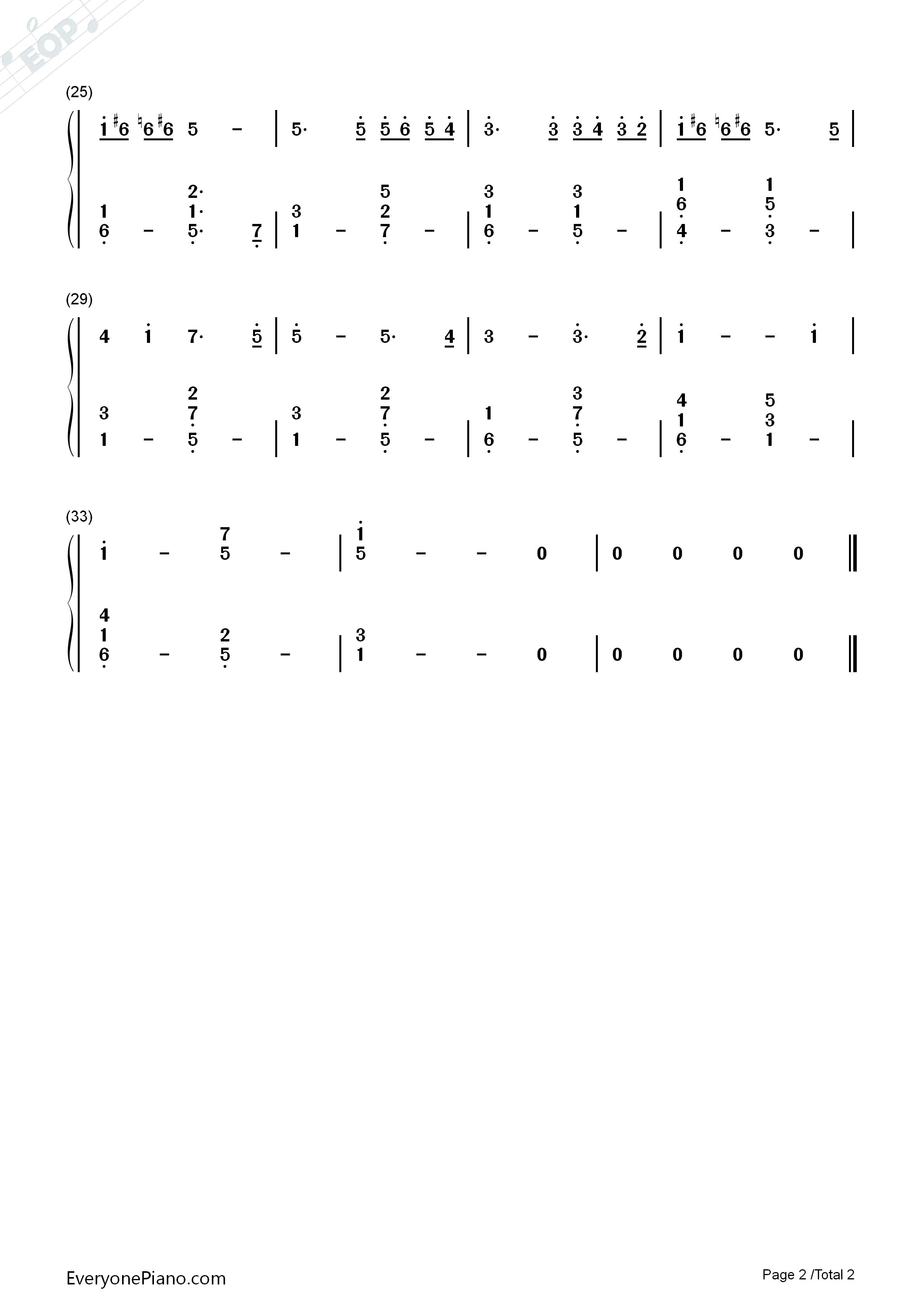 钢琴曲谱 经典 卡农d调简单版 卡农d调简单版双手简谱预览2  }  仅供