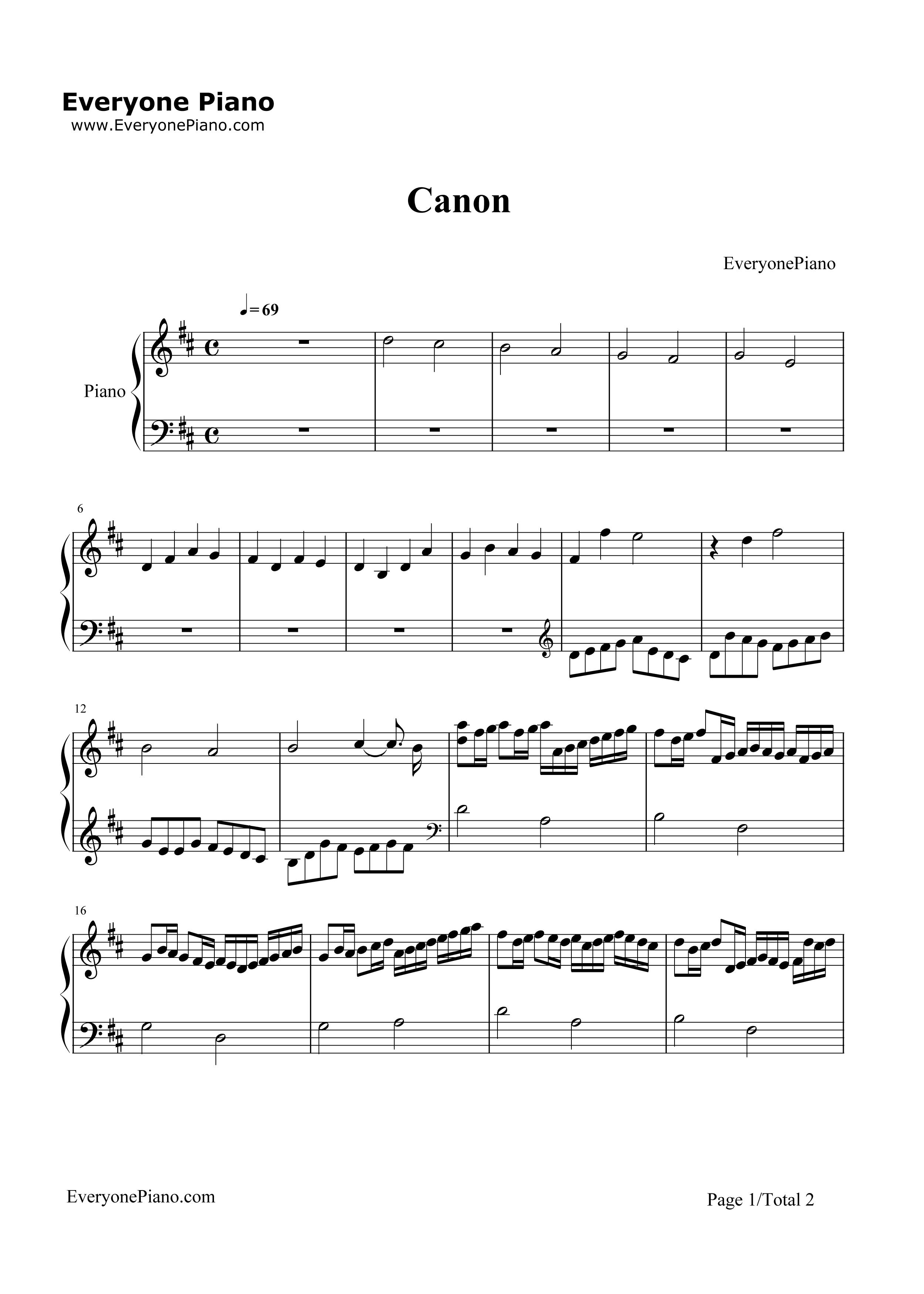 卡农d调简单版五线谱预览1-钢琴谱(五线谱,双手简谱)