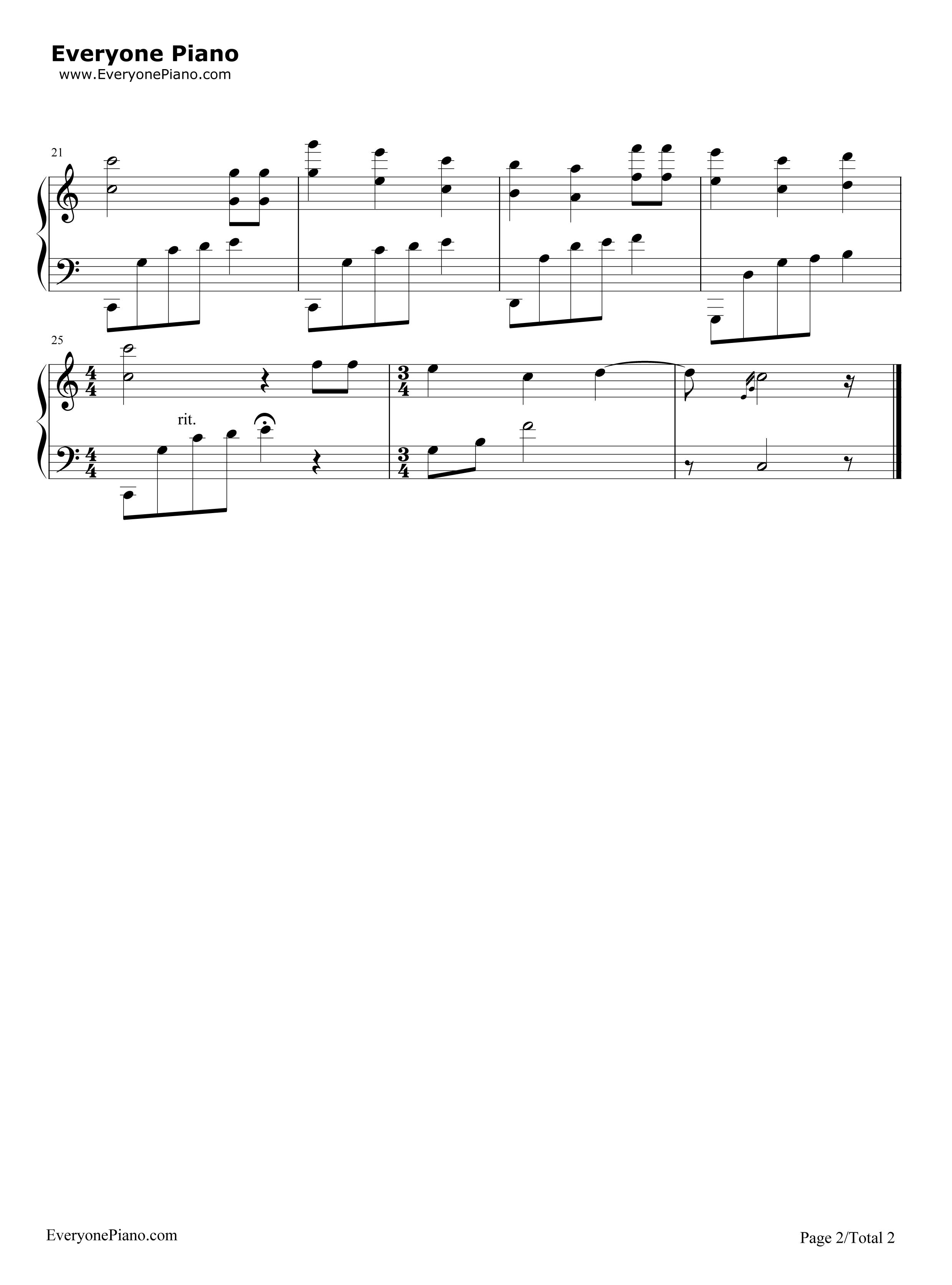 钢琴曲谱 练习曲 生日快乐完整好听版 生日快乐完整好听版五线谱预览2