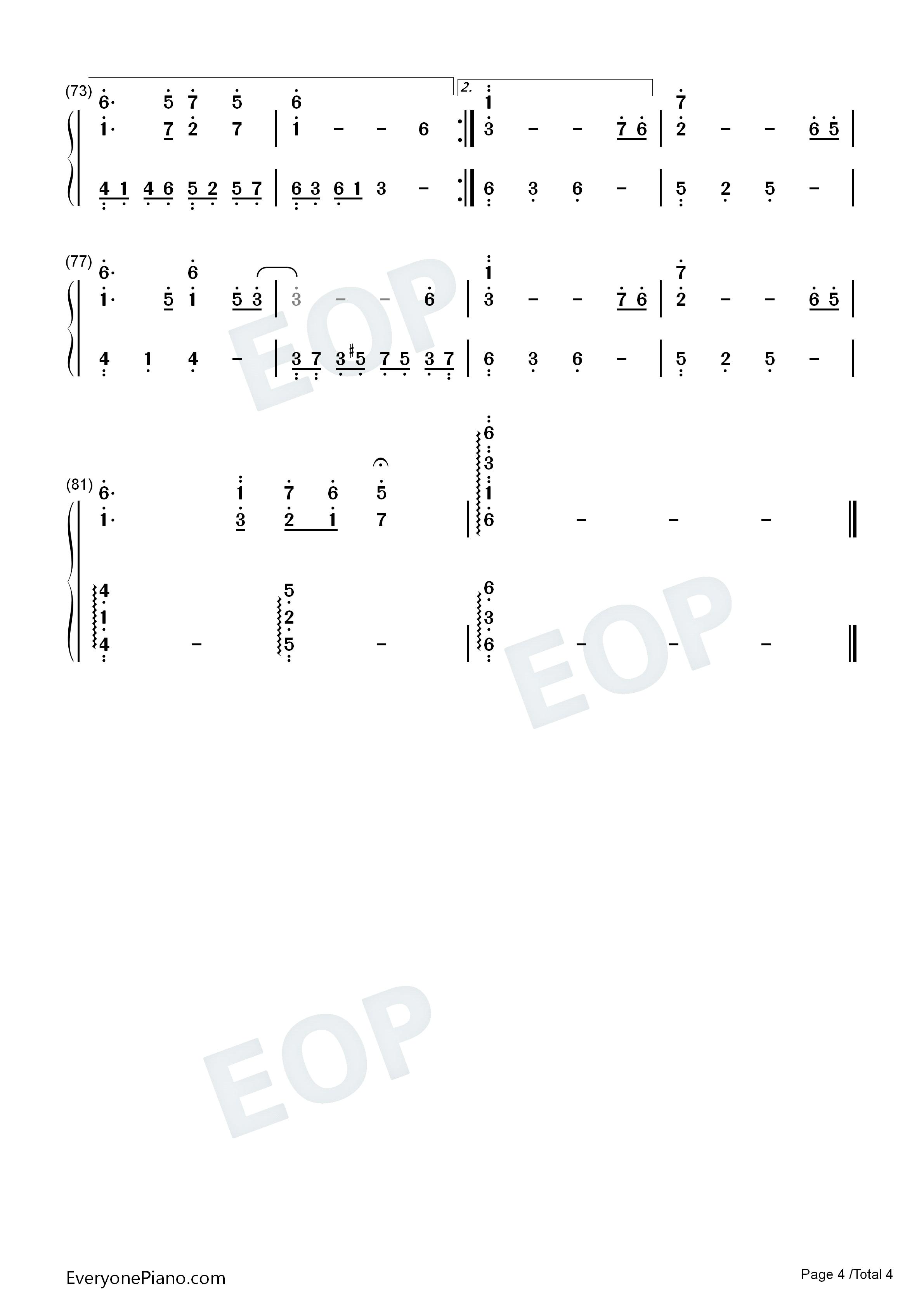 迷梦之恋-简单又很好听的钢琴曲双手简谱预览图片