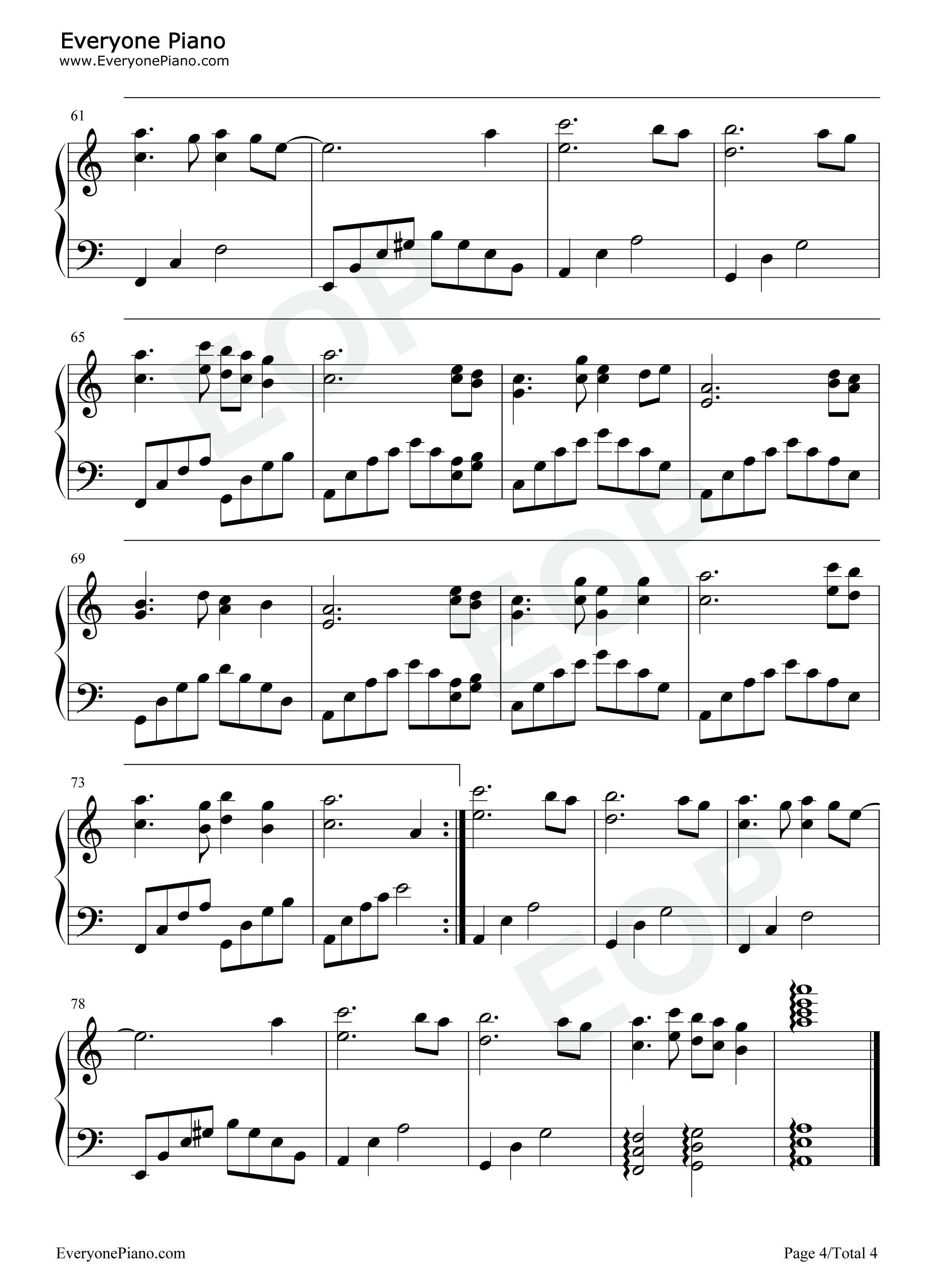 迷梦之恋-简单又很好听的钢琴曲五线谱预览图片