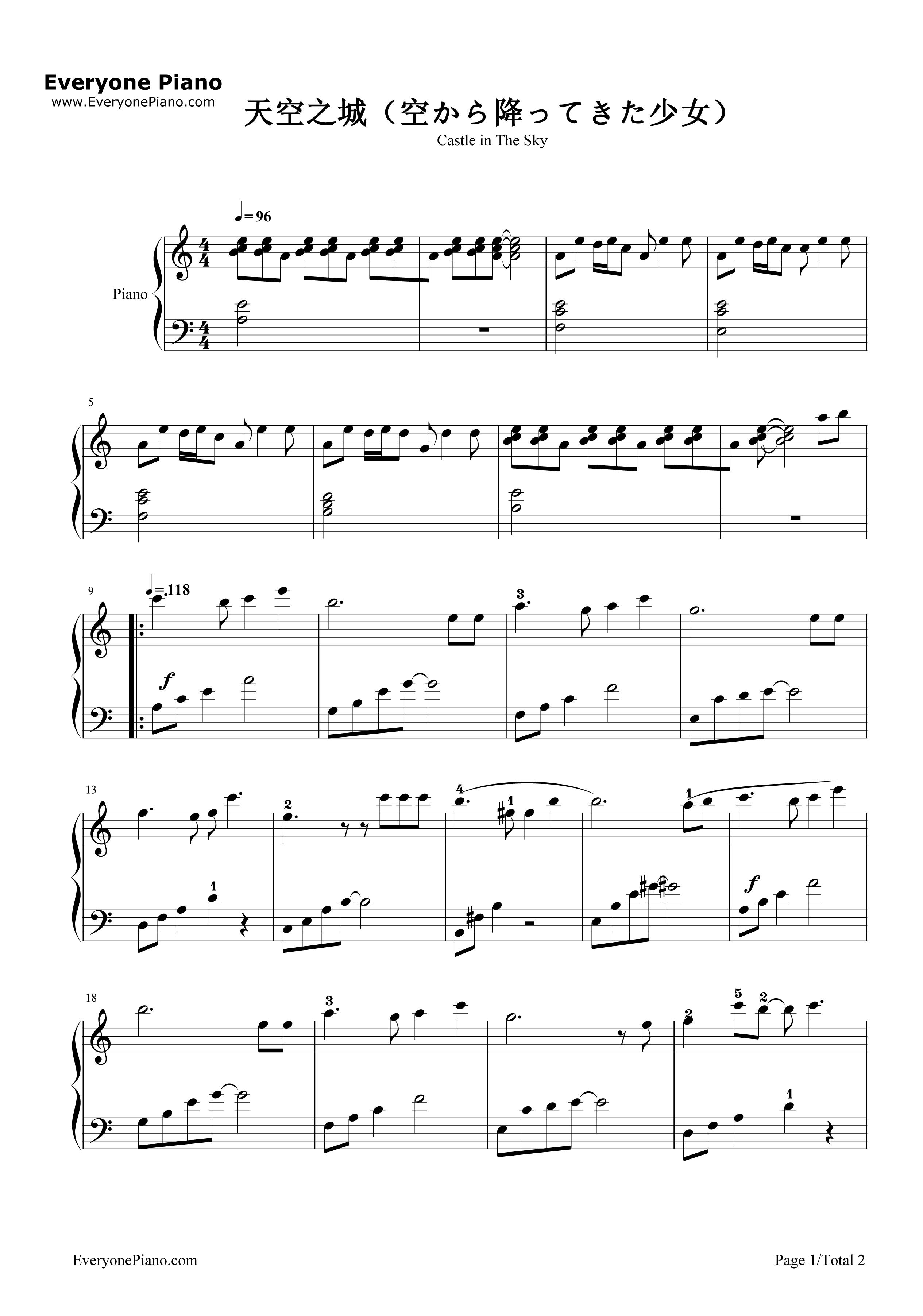 钢琴曲谱 动漫 天空之城c调完美简单版 天空之城c调完美简单版五线谱
