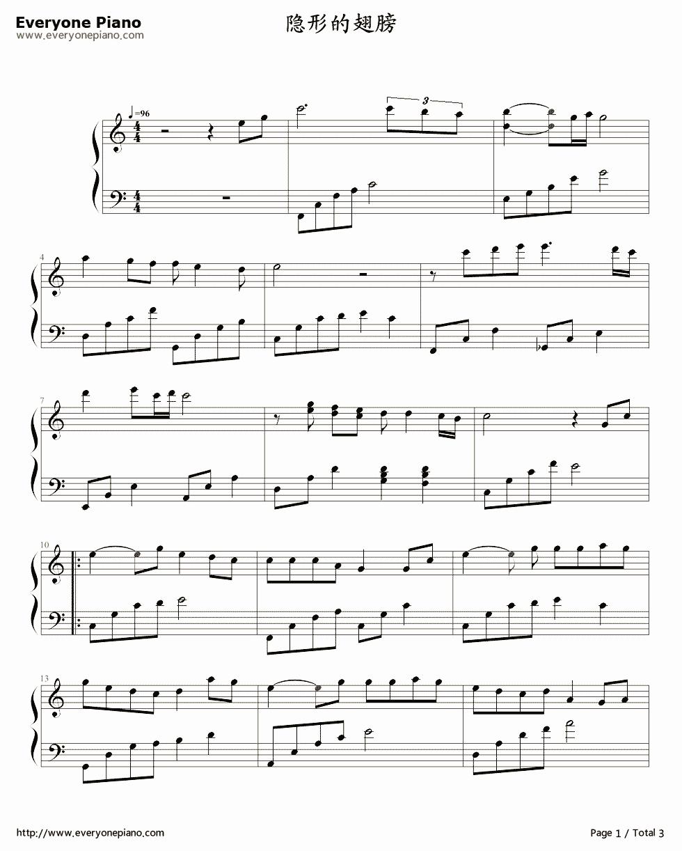 隐形的翅膀-最简单版-eop教学曲五线谱预览1