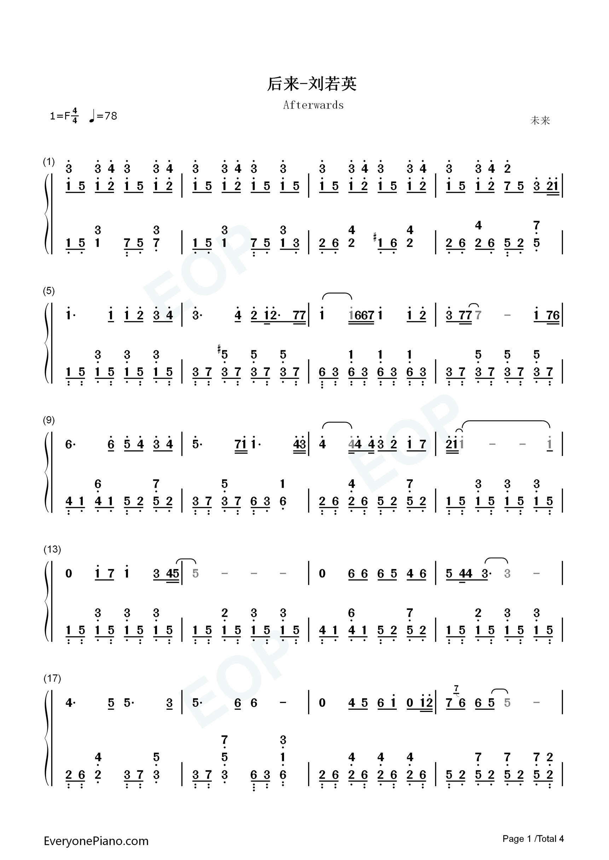 钢琴曲谱 流行 后来-刘若英 后来-刘若英双手简谱预览1  }  仅供学习
