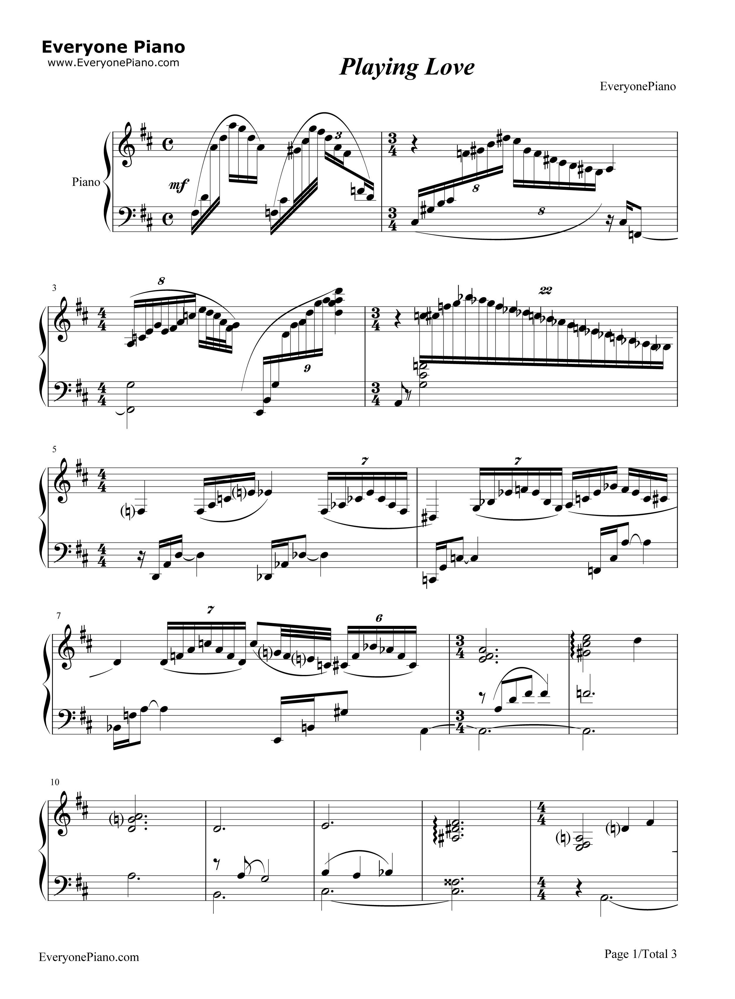 playing love-海上钢琴师五线谱预览1