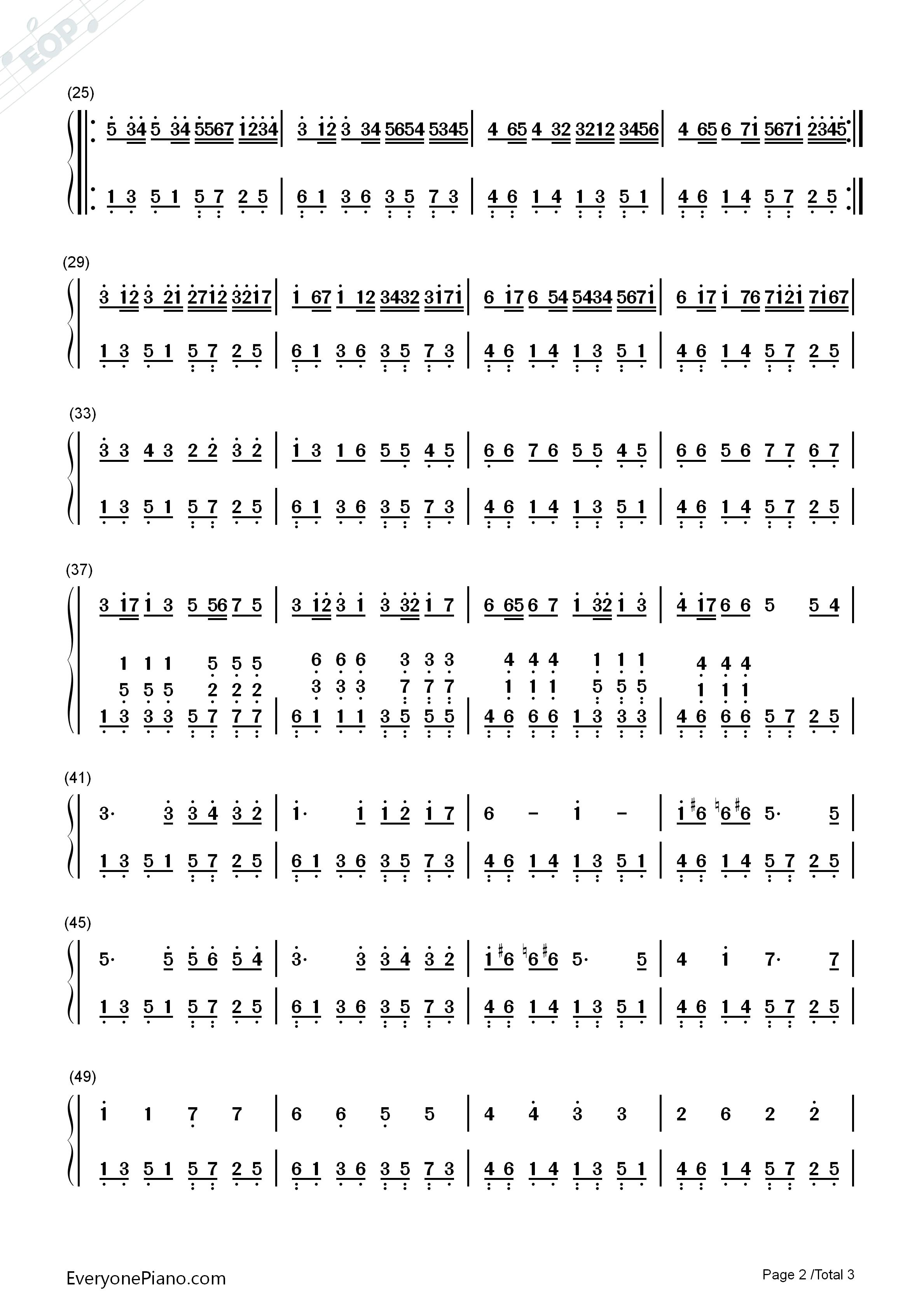 卡农简单好听版-eop教学曲双手简谱预览2-钢琴谱(