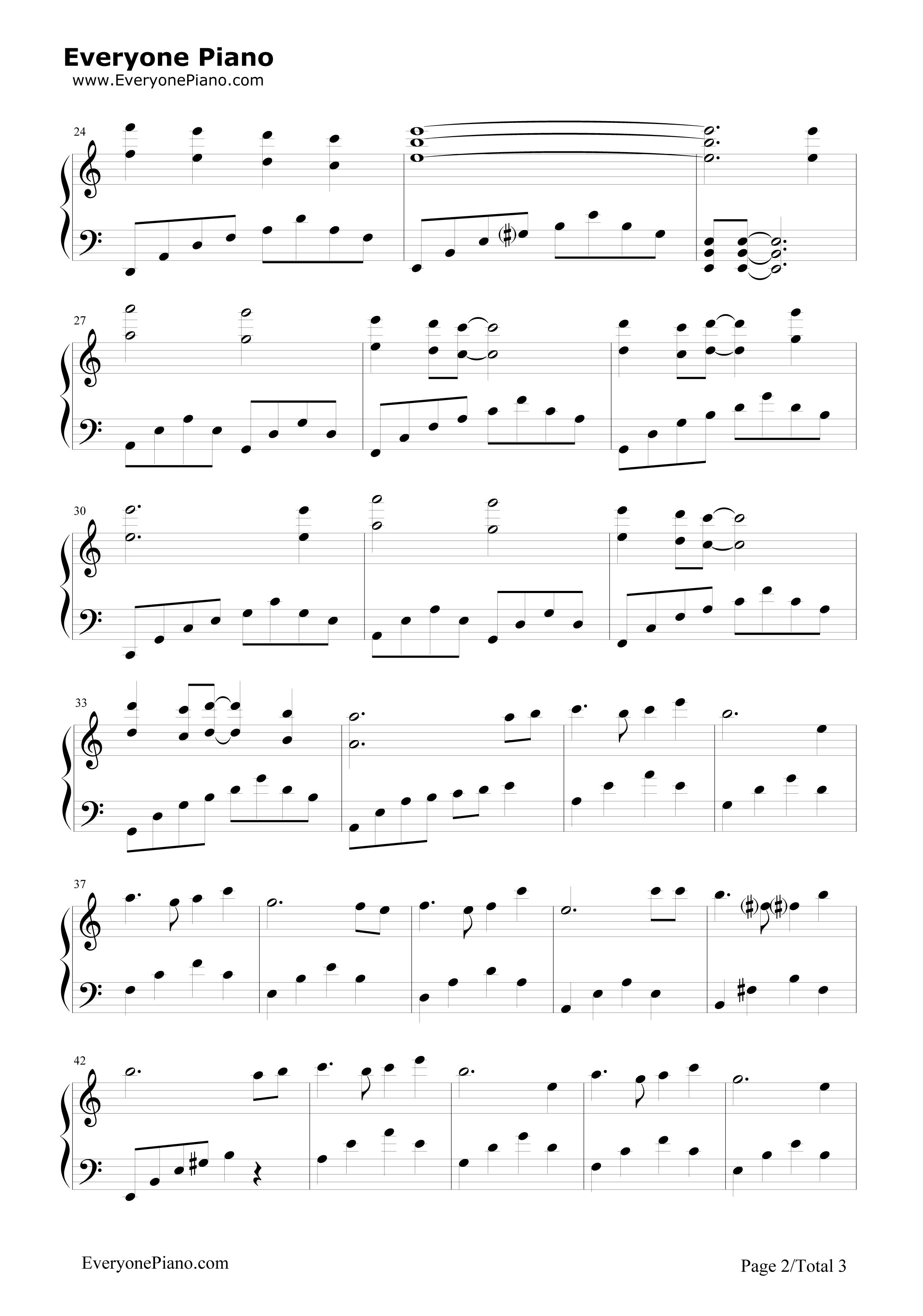 天空之城完美简单版-eop教学曲五线谱预览2-钢琴谱(,)图片