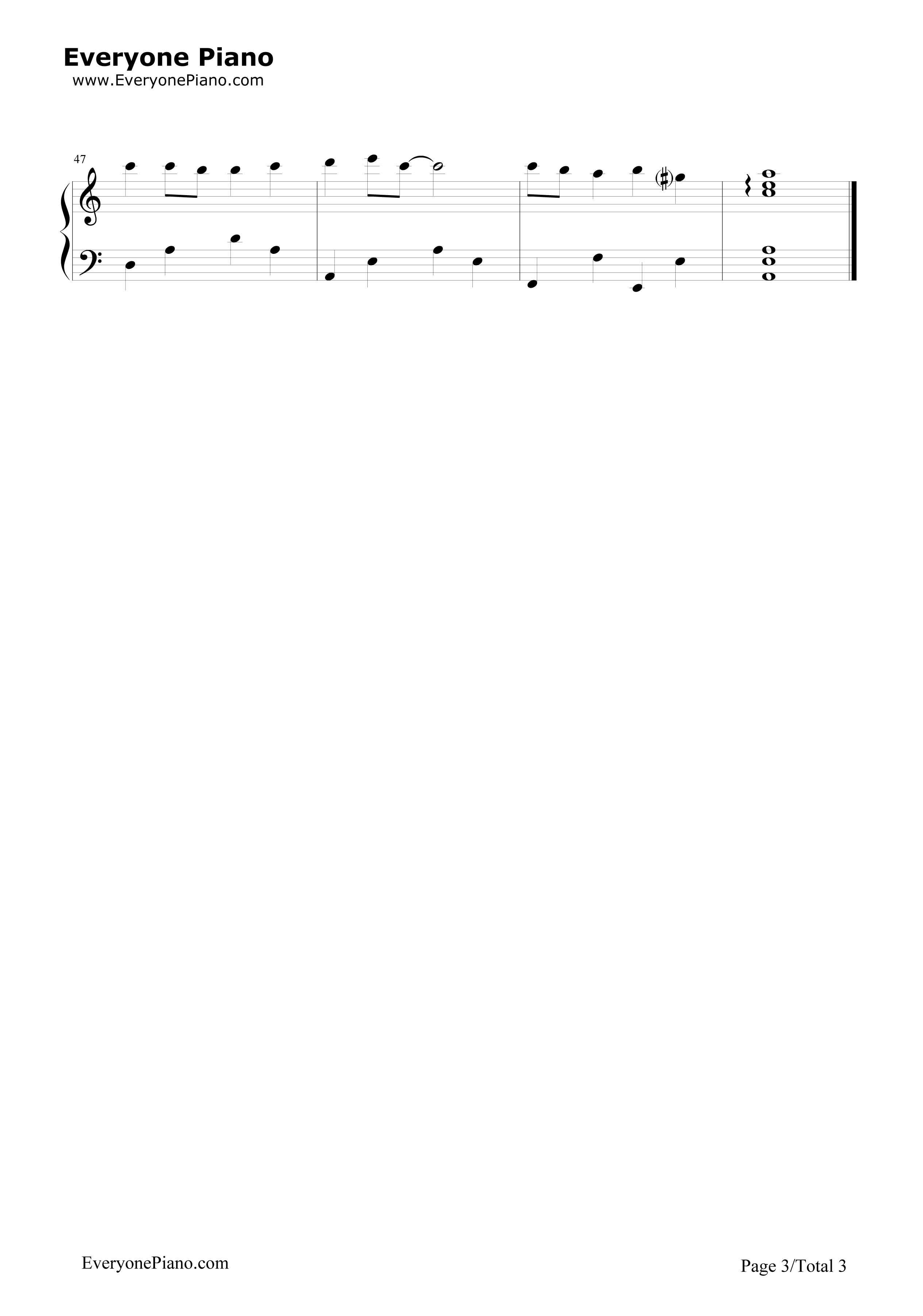 天空之城完美简单版-eop教学曲五线谱预览3-钢琴谱(,)图片