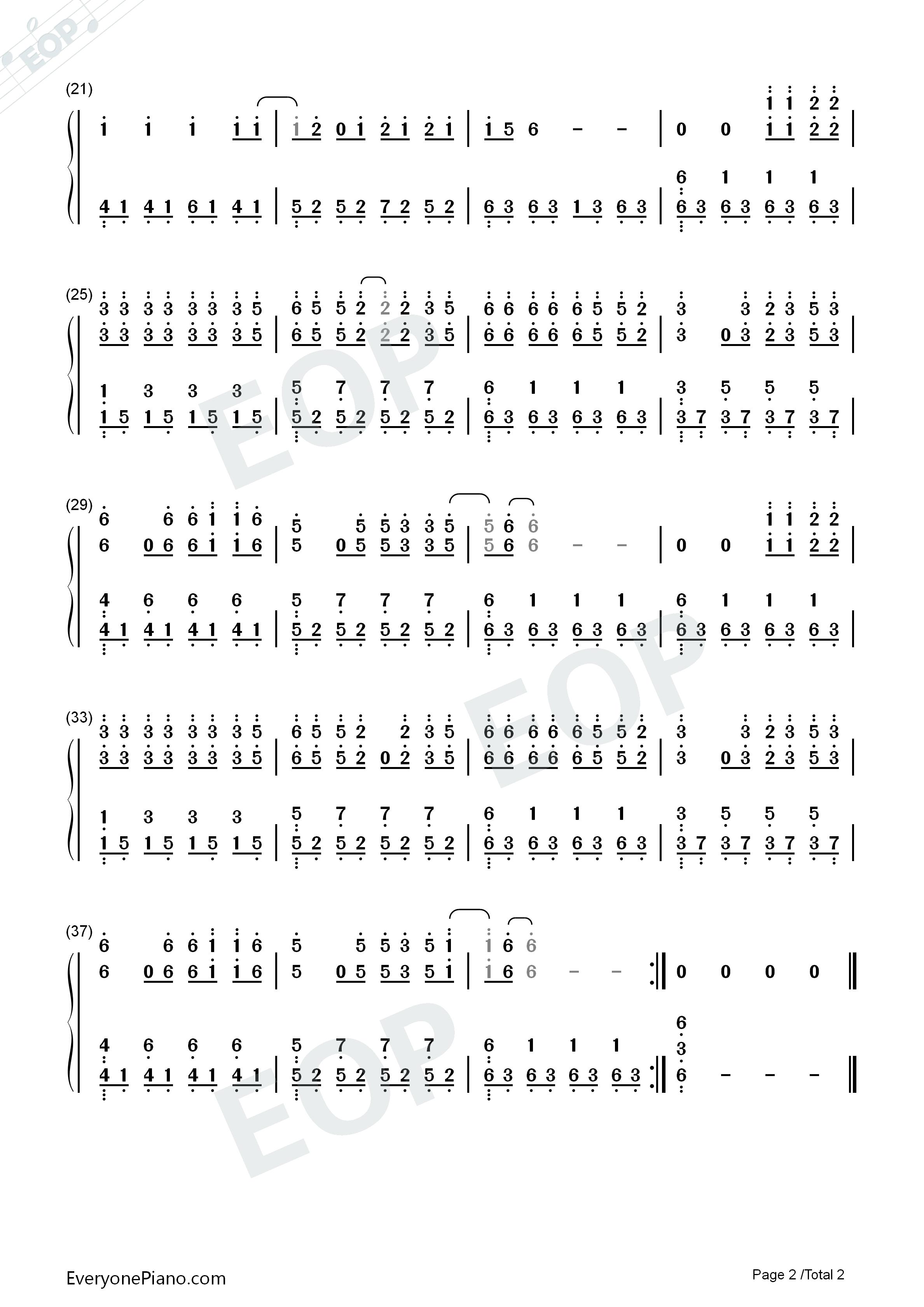 黄昏简单版-eop教学曲双手简谱预览2-钢琴谱
