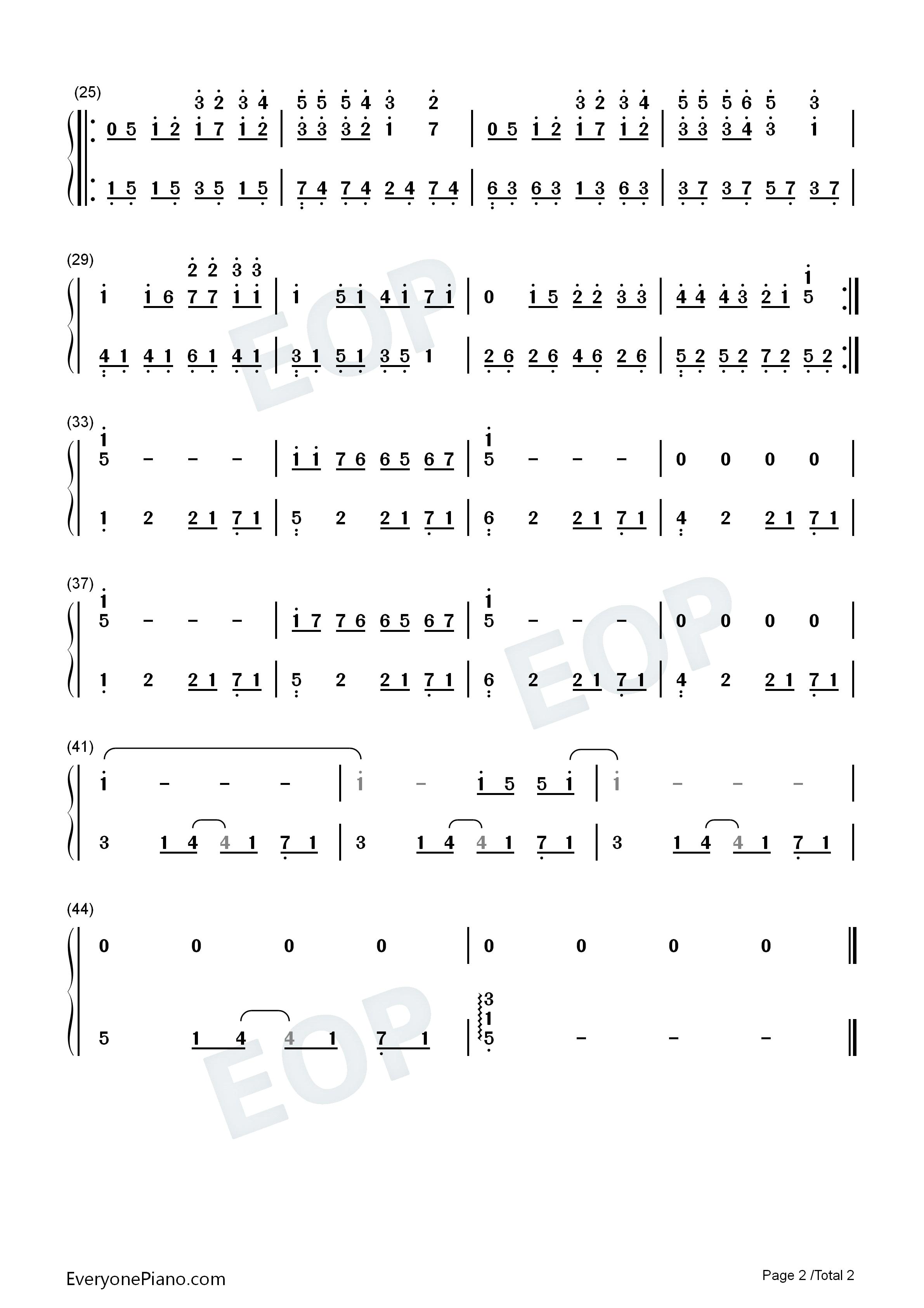 简单爱简单版-eop教学曲双手简谱预览2