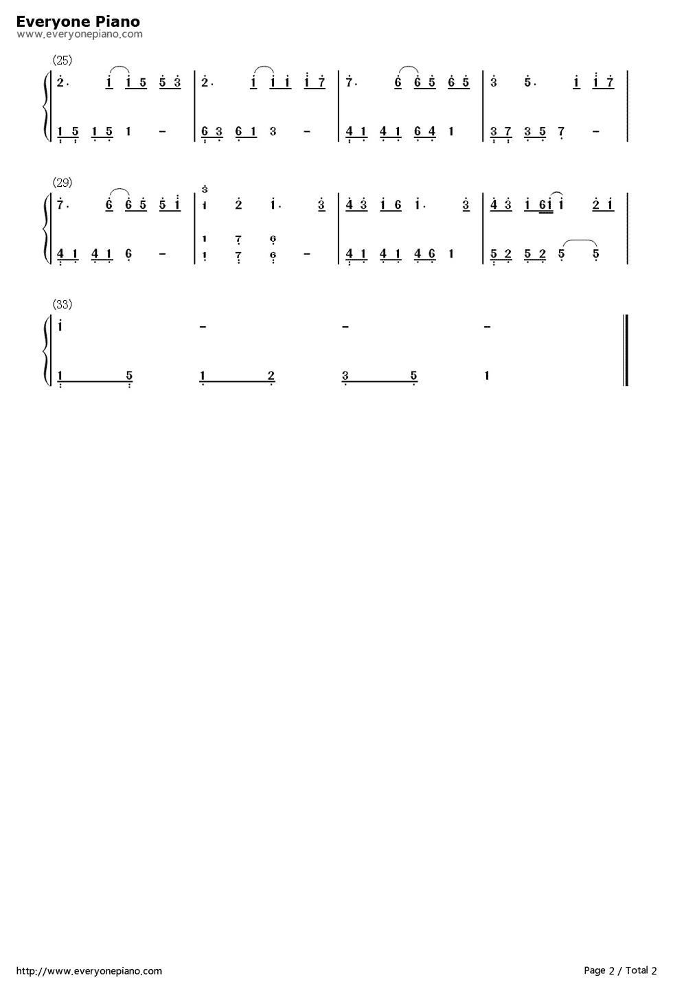 钢琴曲谱 流行 我愿意简单版-eop教学曲 我愿意简单版-eop教学曲双手