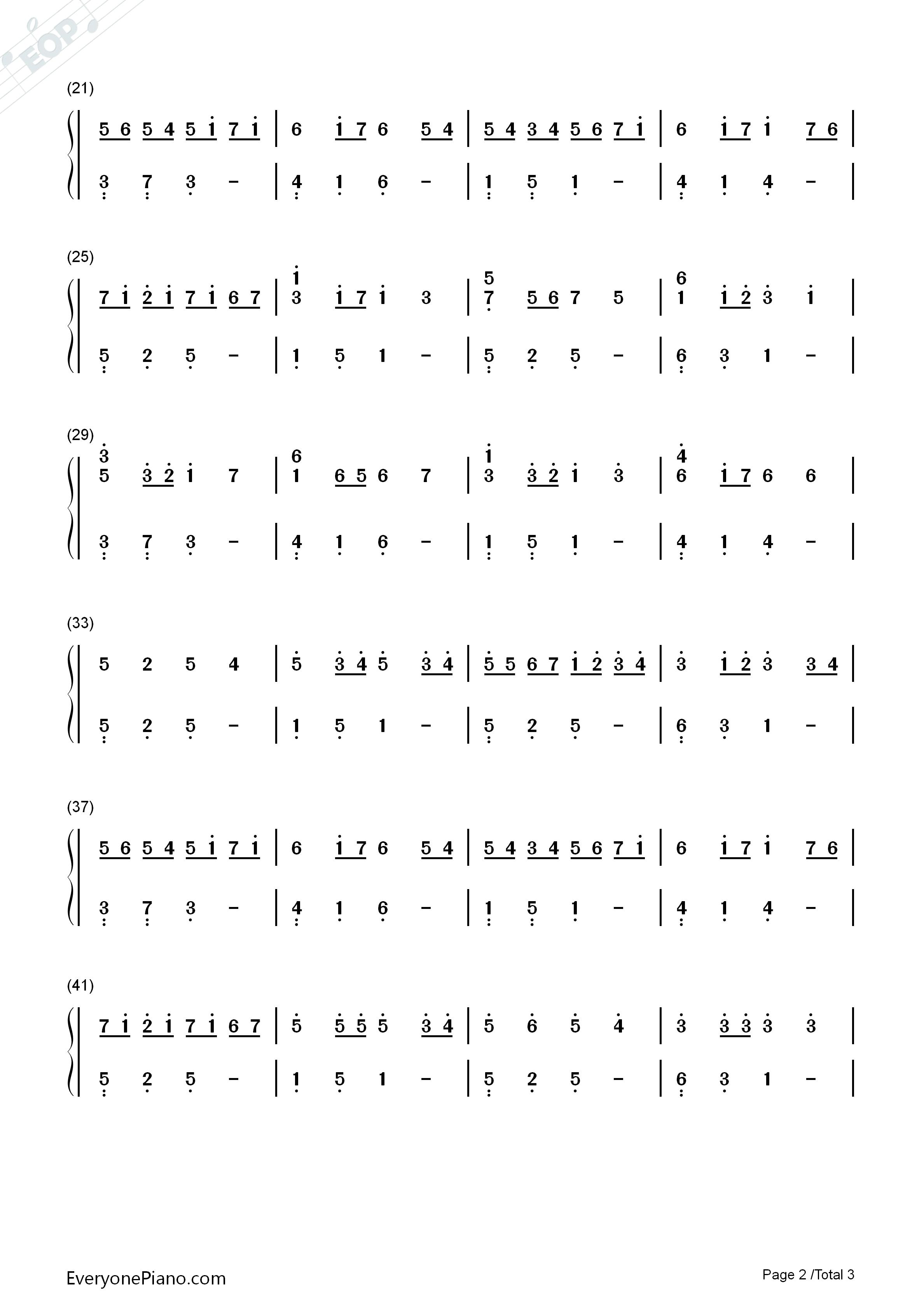 卡农g调简单版-eop教学曲双手简谱预览2
