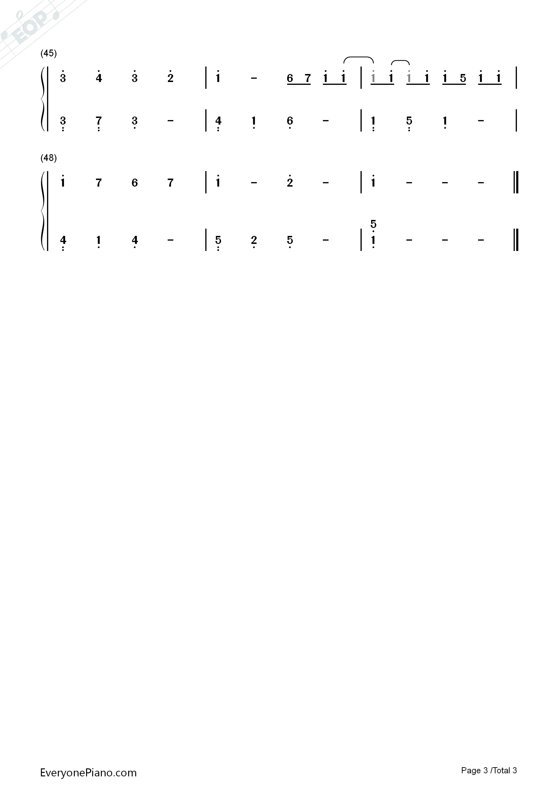 卡农g调简单版-eop教学曲双手简谱预览3
