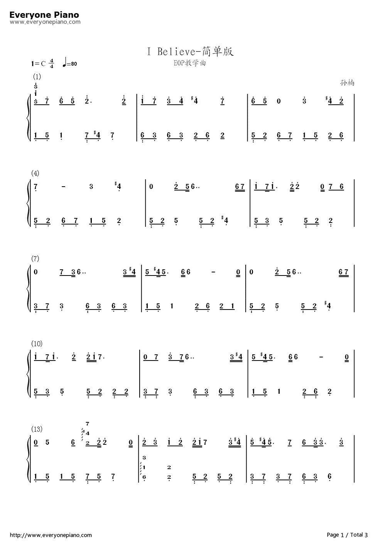 believe简单版-eop教学曲双手简谱预览1-钢琴谱(