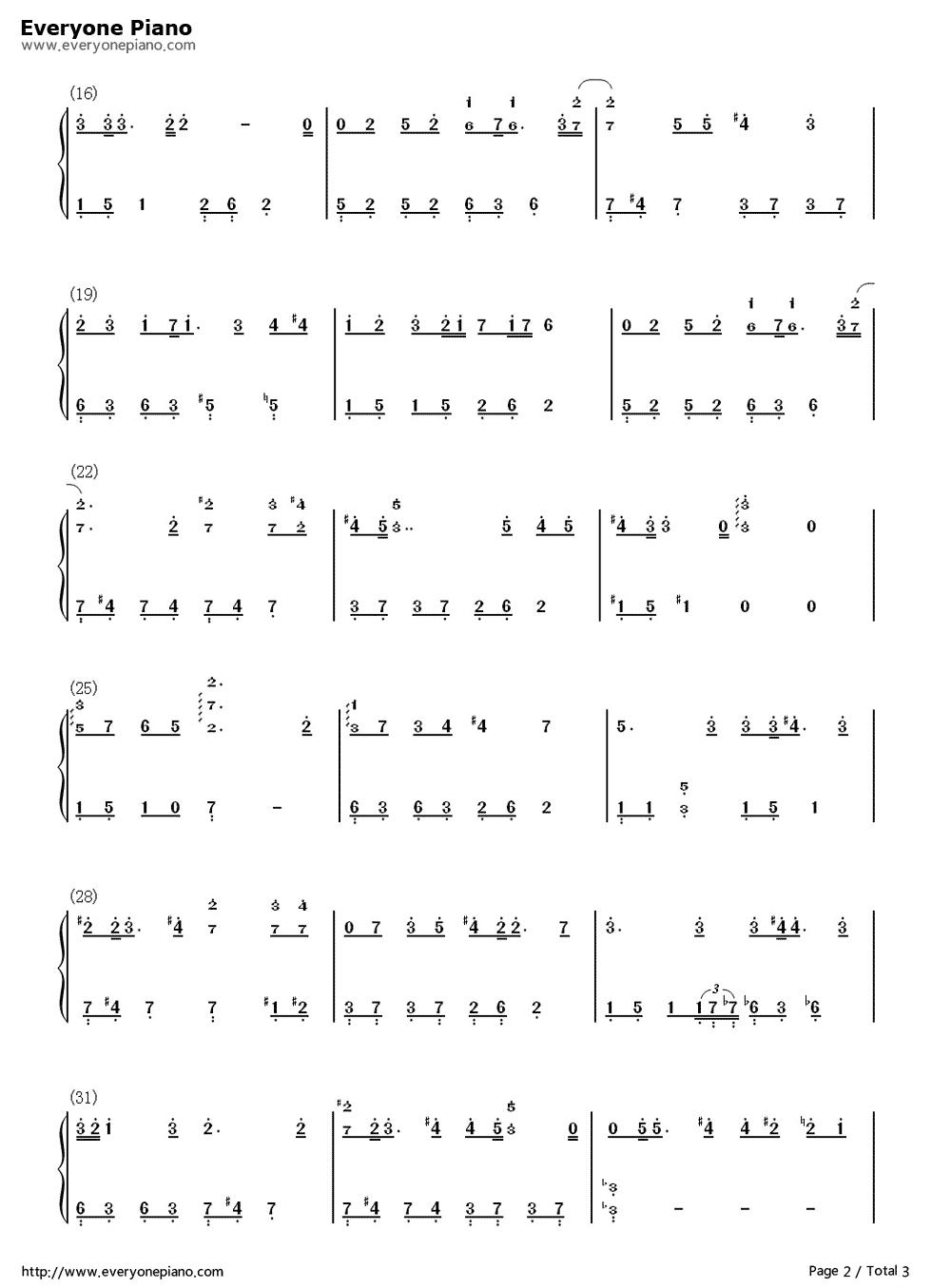 believe简单版-eop教学曲双手简谱预览2-钢琴谱(