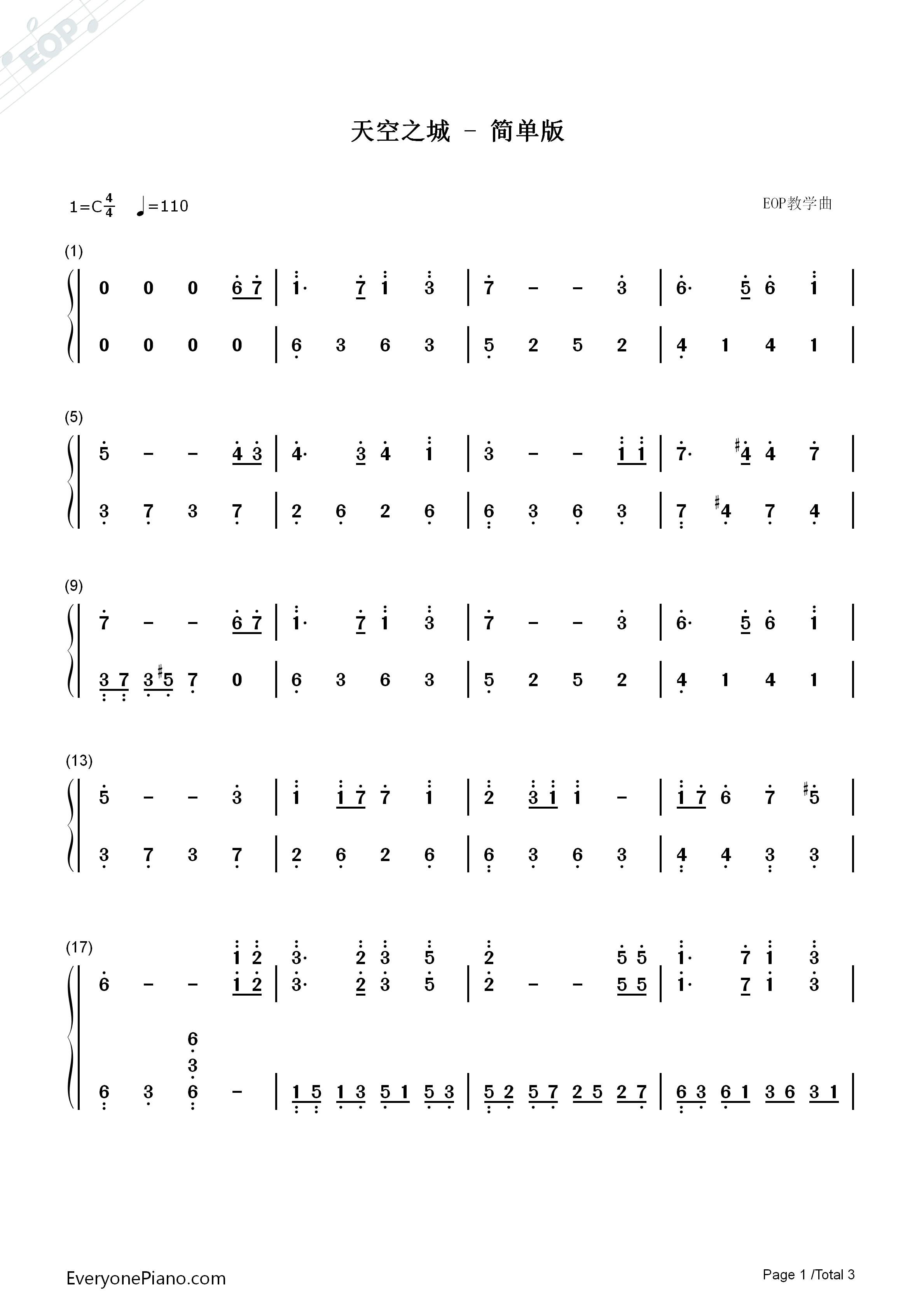天空之城适中版-eop教学曲双手简谱预览图片