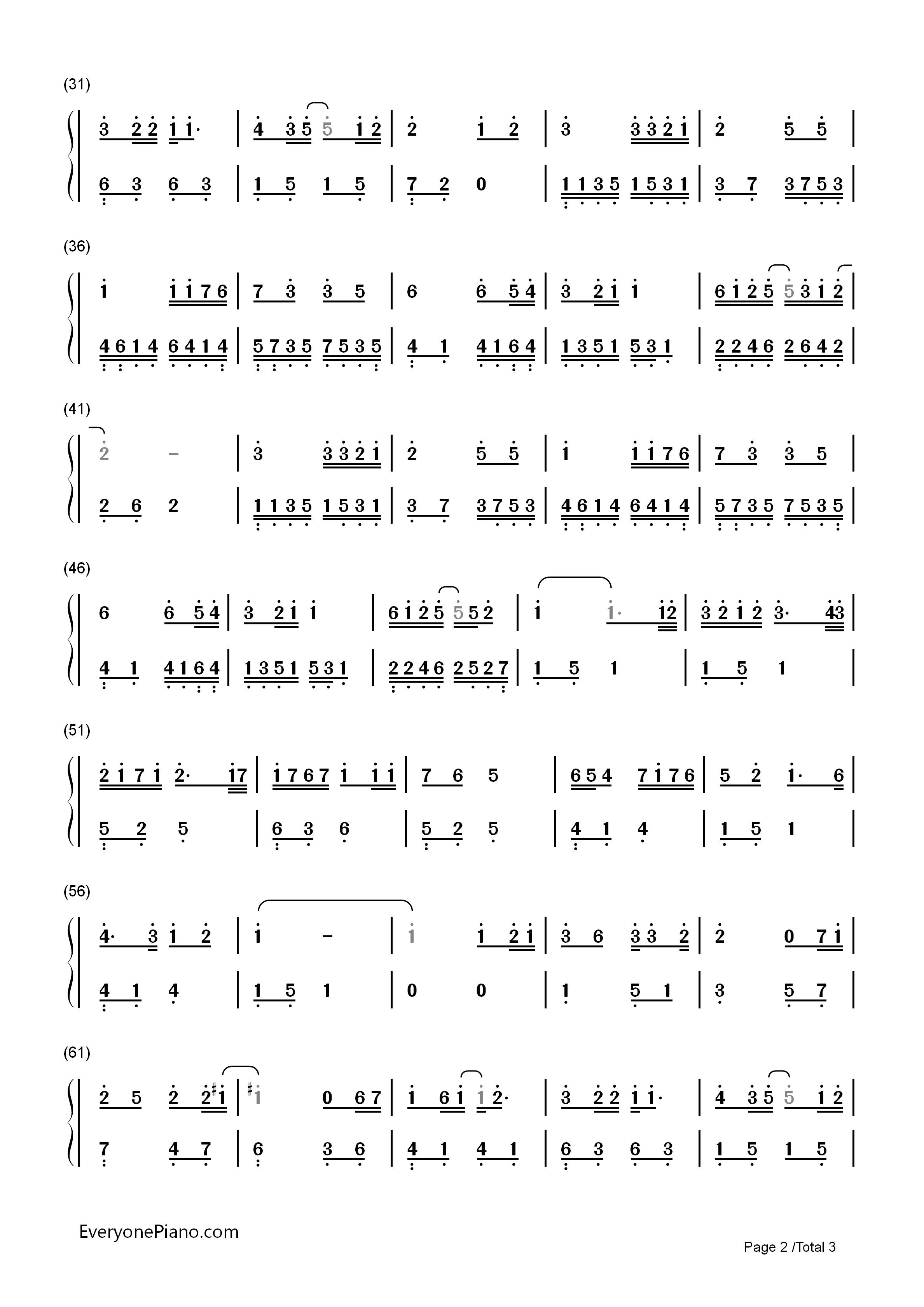 小星星-汪苏泷双手简谱预览2-钢琴谱档(五线谱,双手