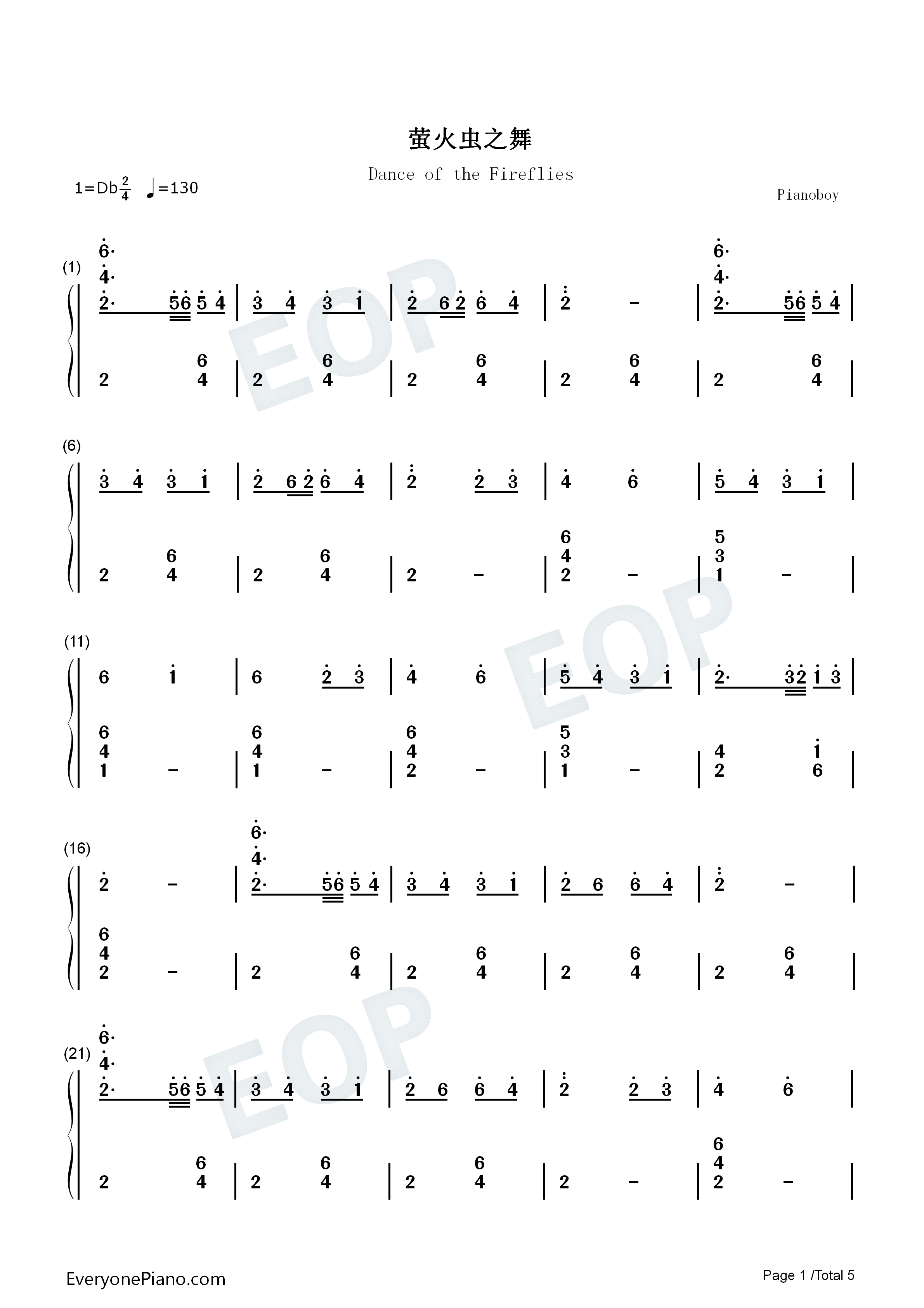 萤火虫之舞钢琴独奏双手简谱预览图片