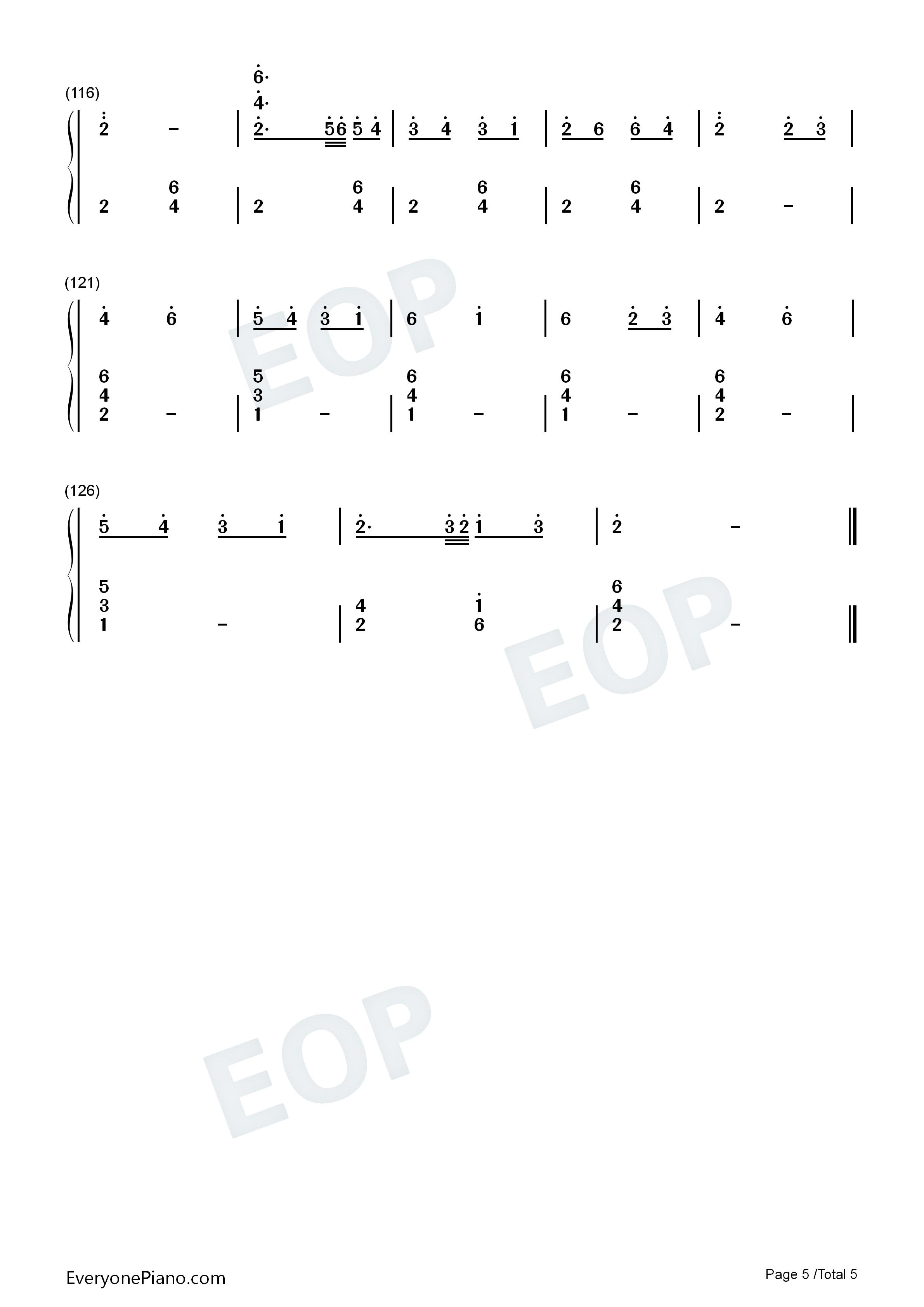 萤火虫之舞钢琴独奏双手简谱预览5