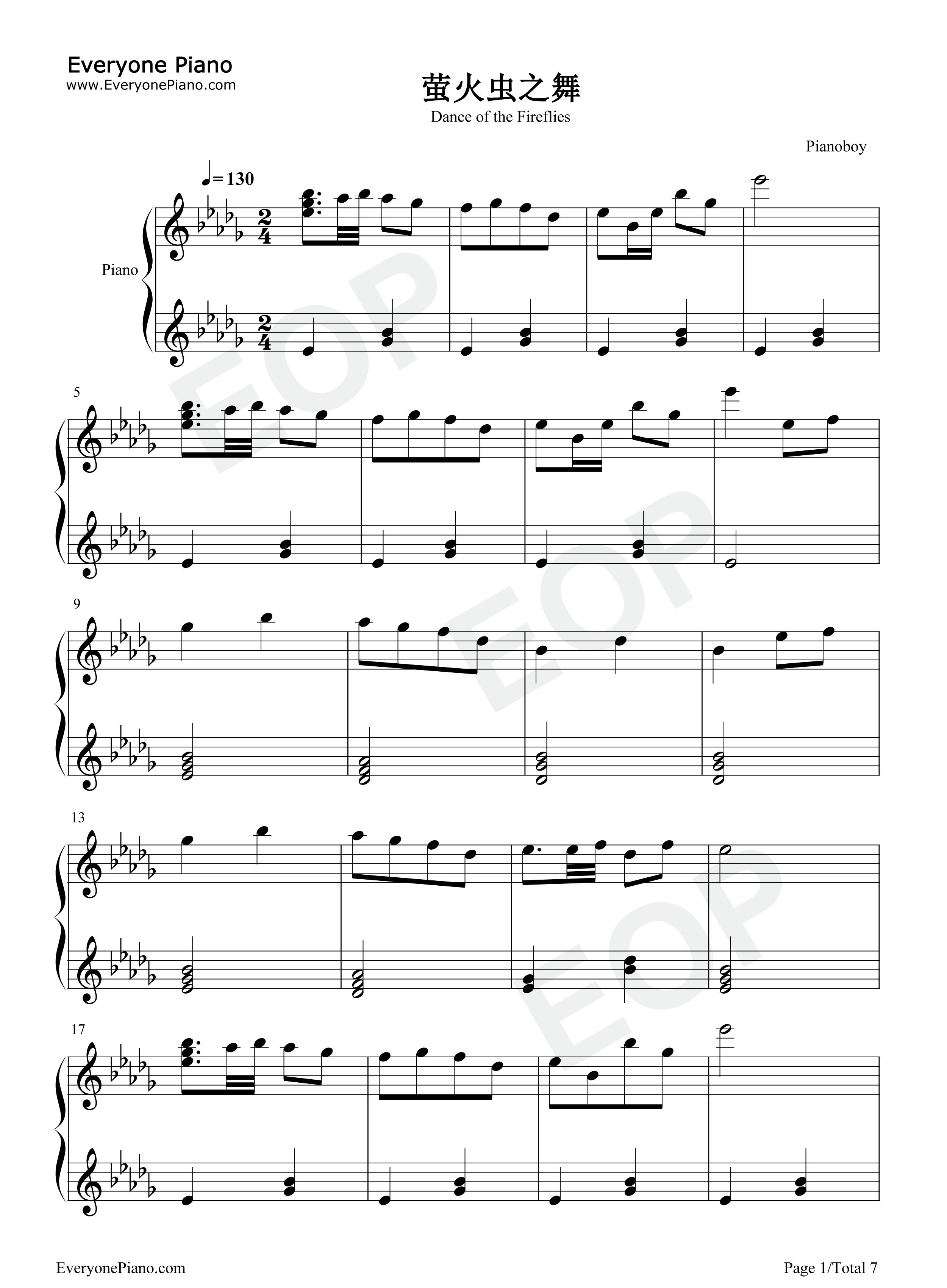 萤火虫之舞钢琴独奏五线谱预览图片
