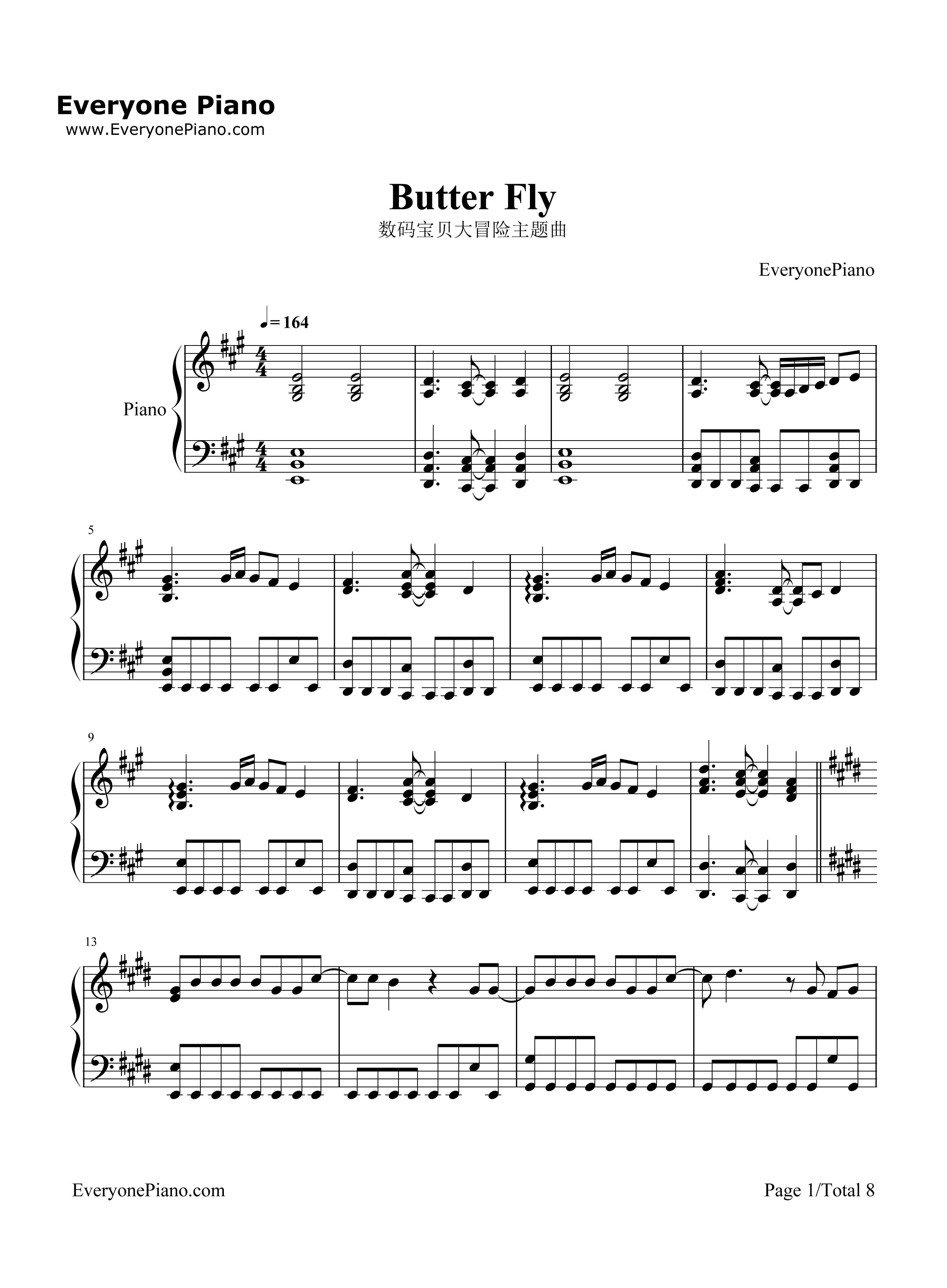 butter fly-数码宝贝大冒险主题曲五线谱预览1