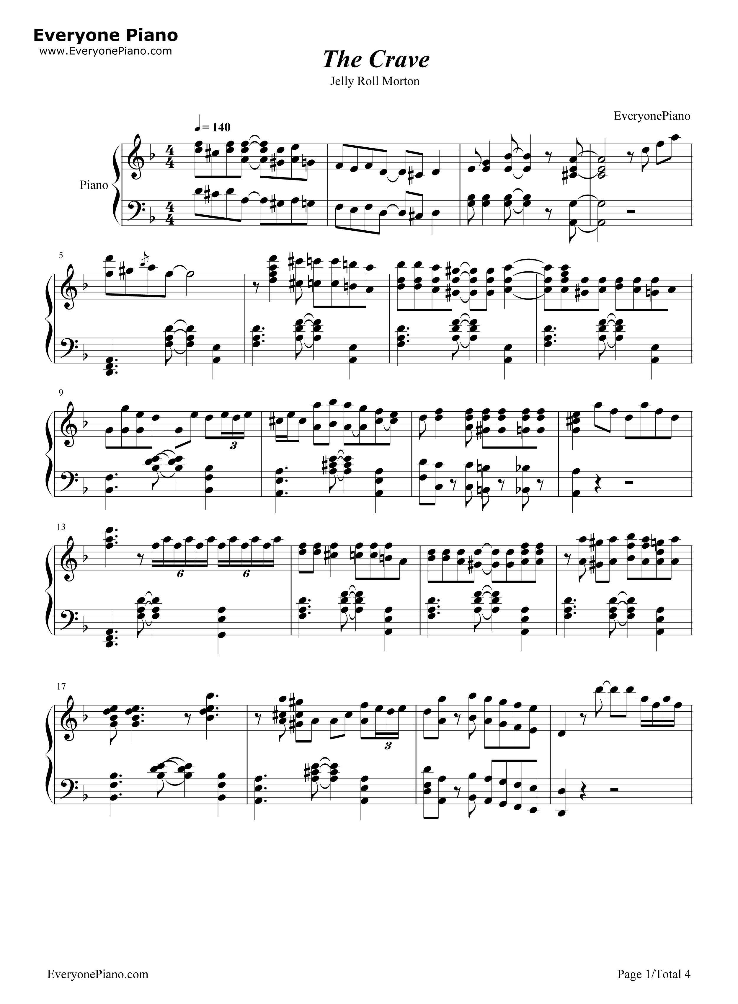 钢琴曲谱 经典 the crave-海上钢琴师插曲爵士版 the crave-海上钢琴
