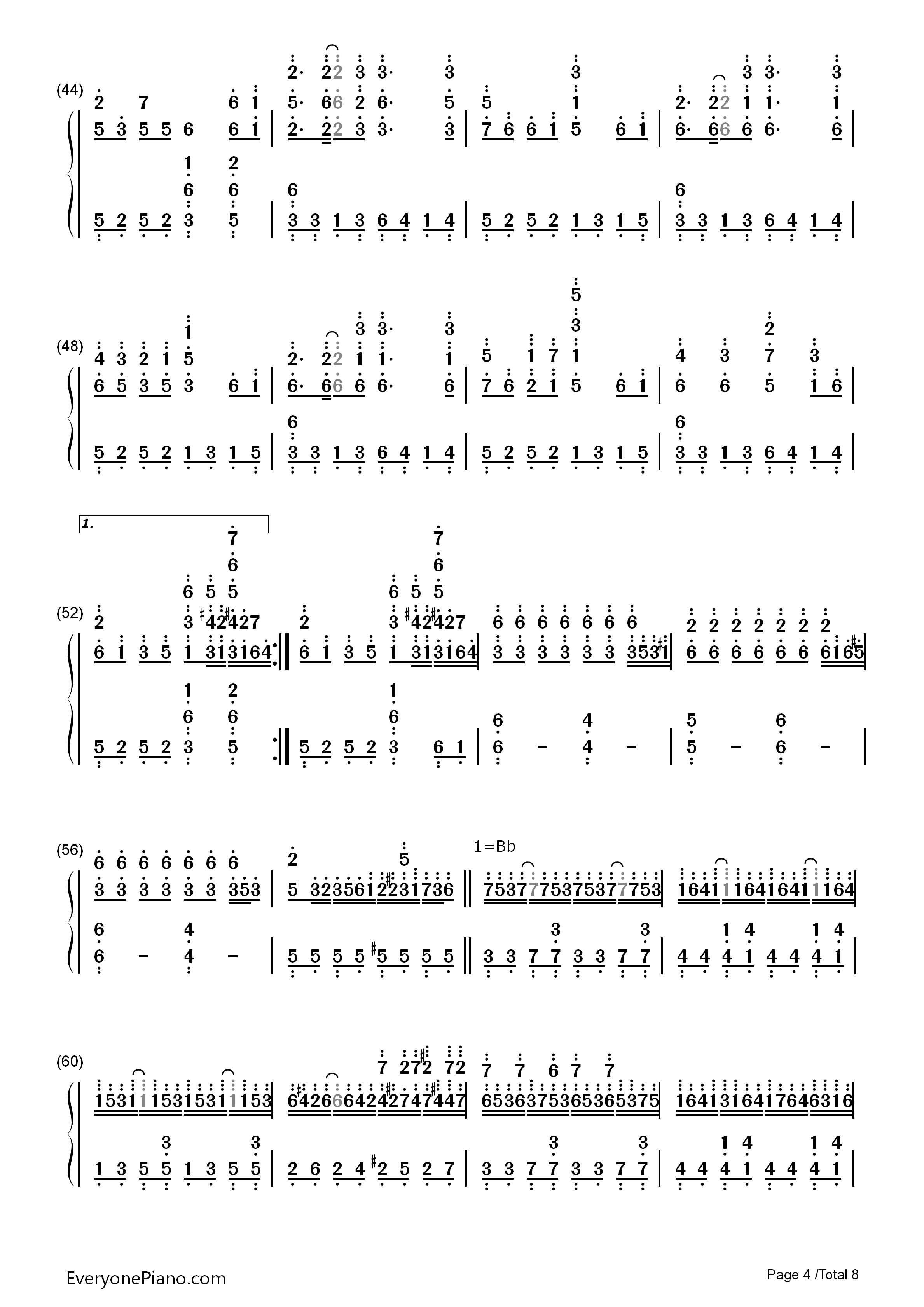 千本樱-初音未来双手简谱预览4
