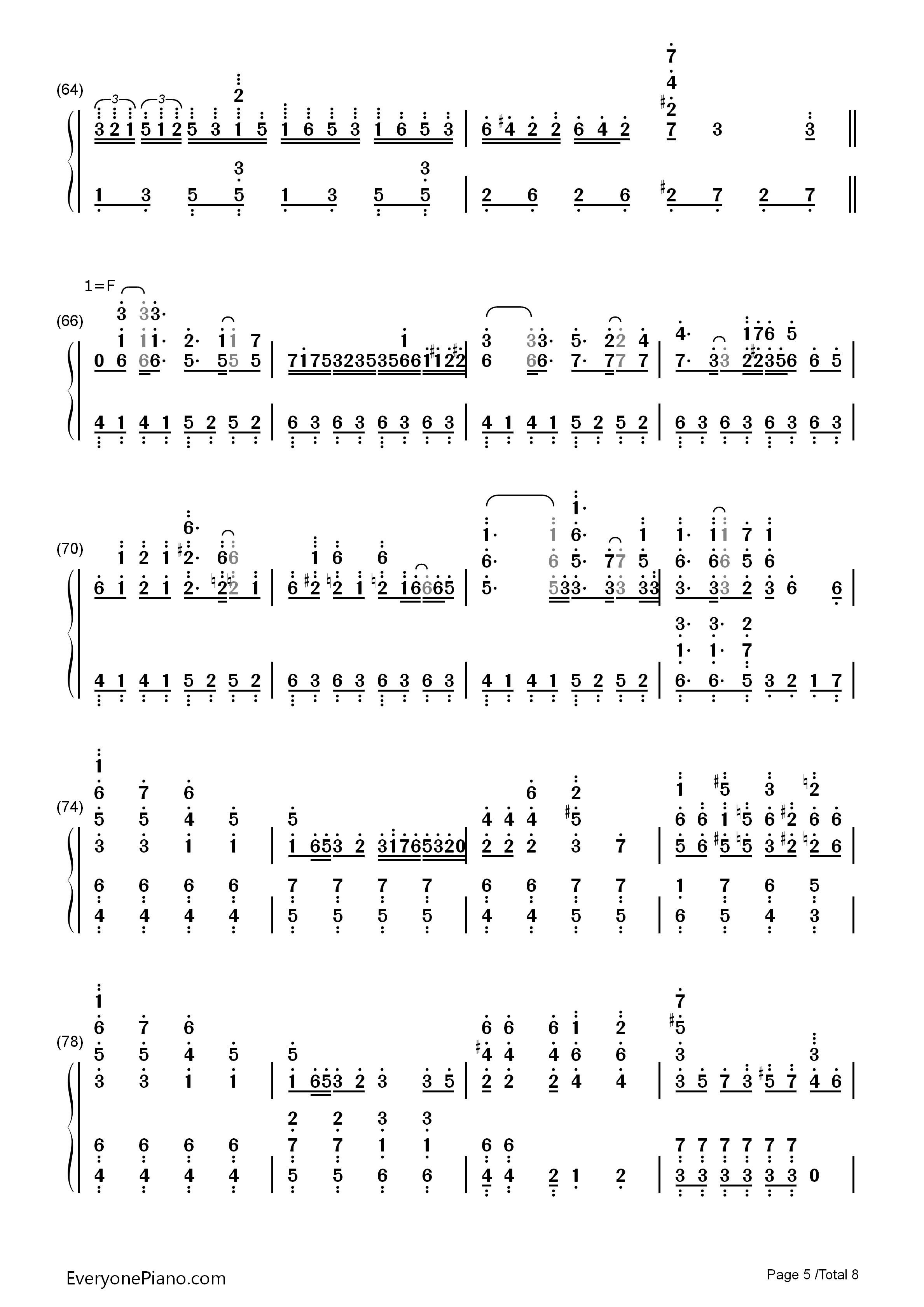 千本樱-初音未来双手简谱预览5