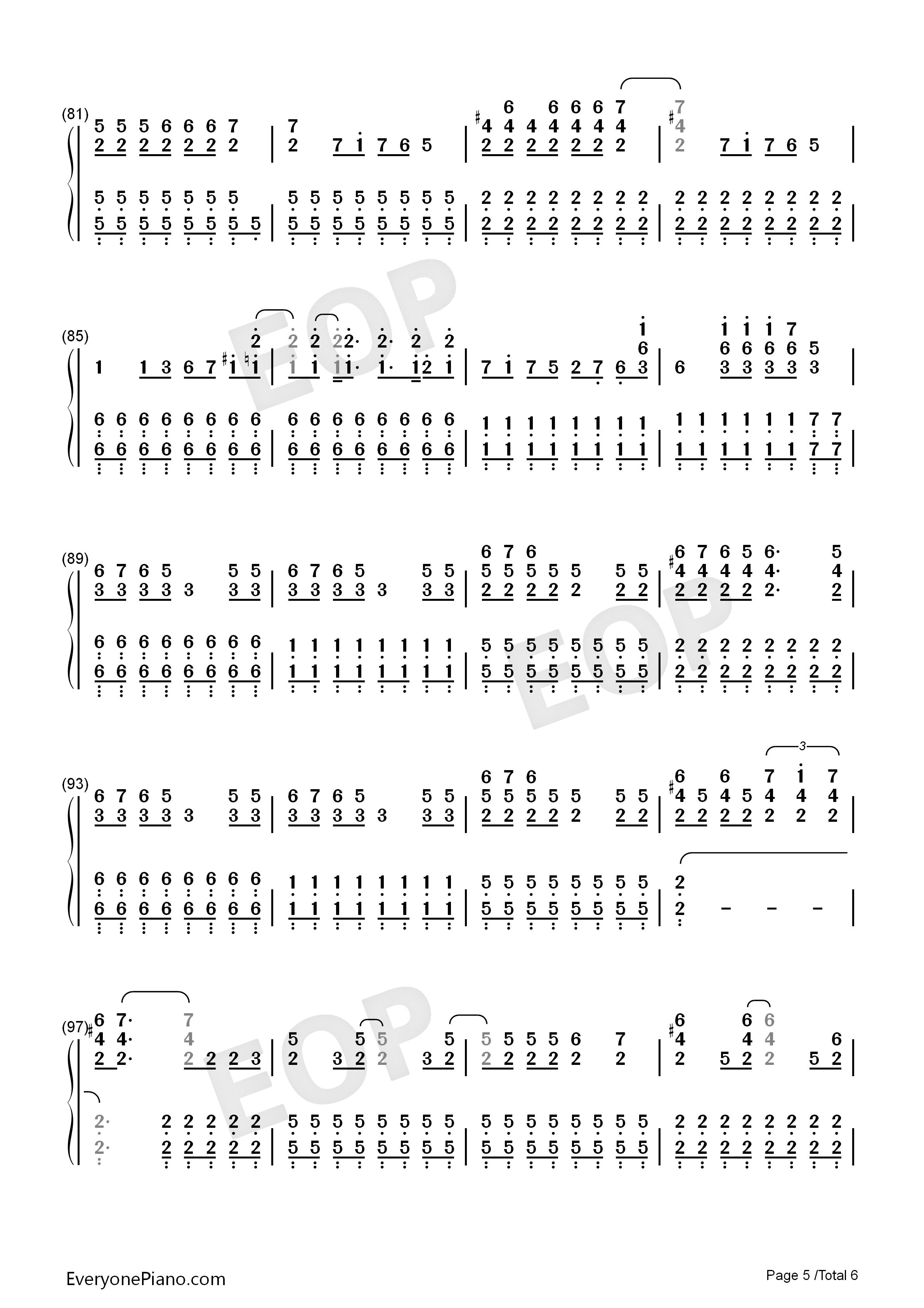 钢琴曲谱 流行 you belong