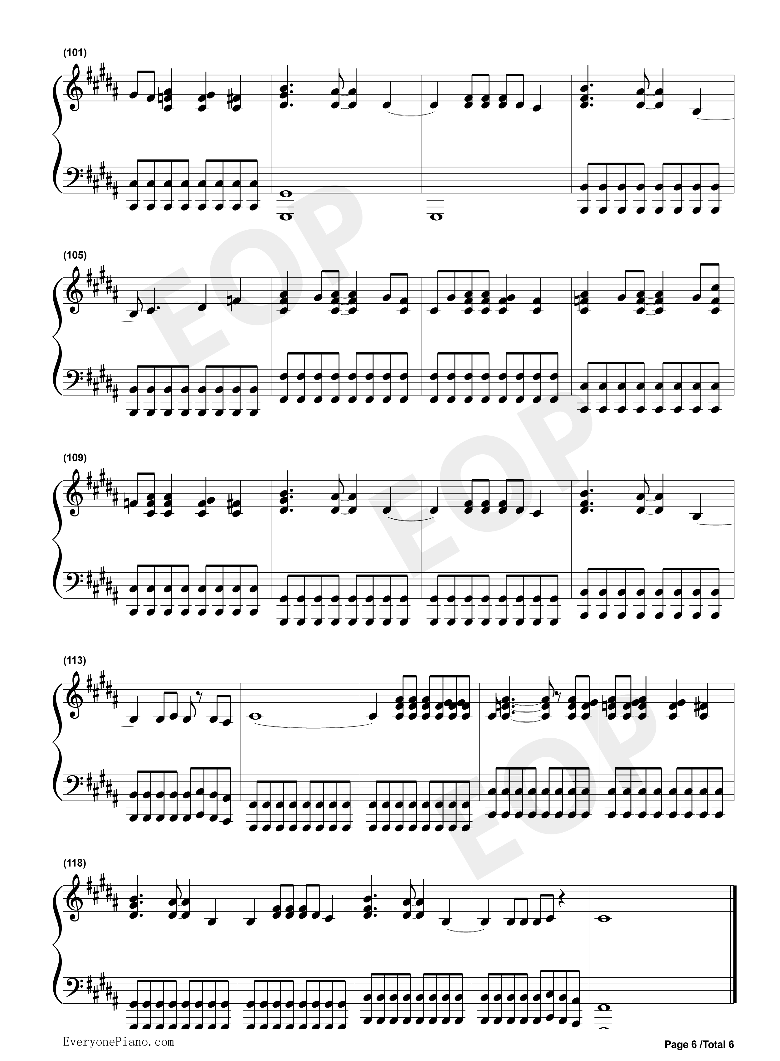 alwayswithme钢琴曲谱完整版